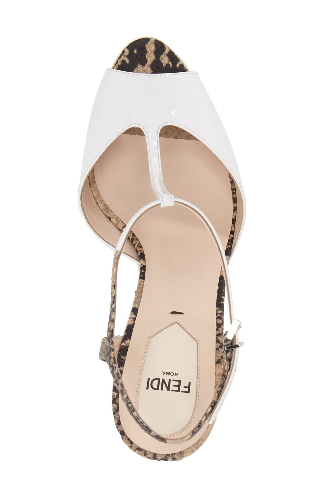 'Elodie' T-Strap Wedge Sandal,                             Alternate thumbnail 4, color,