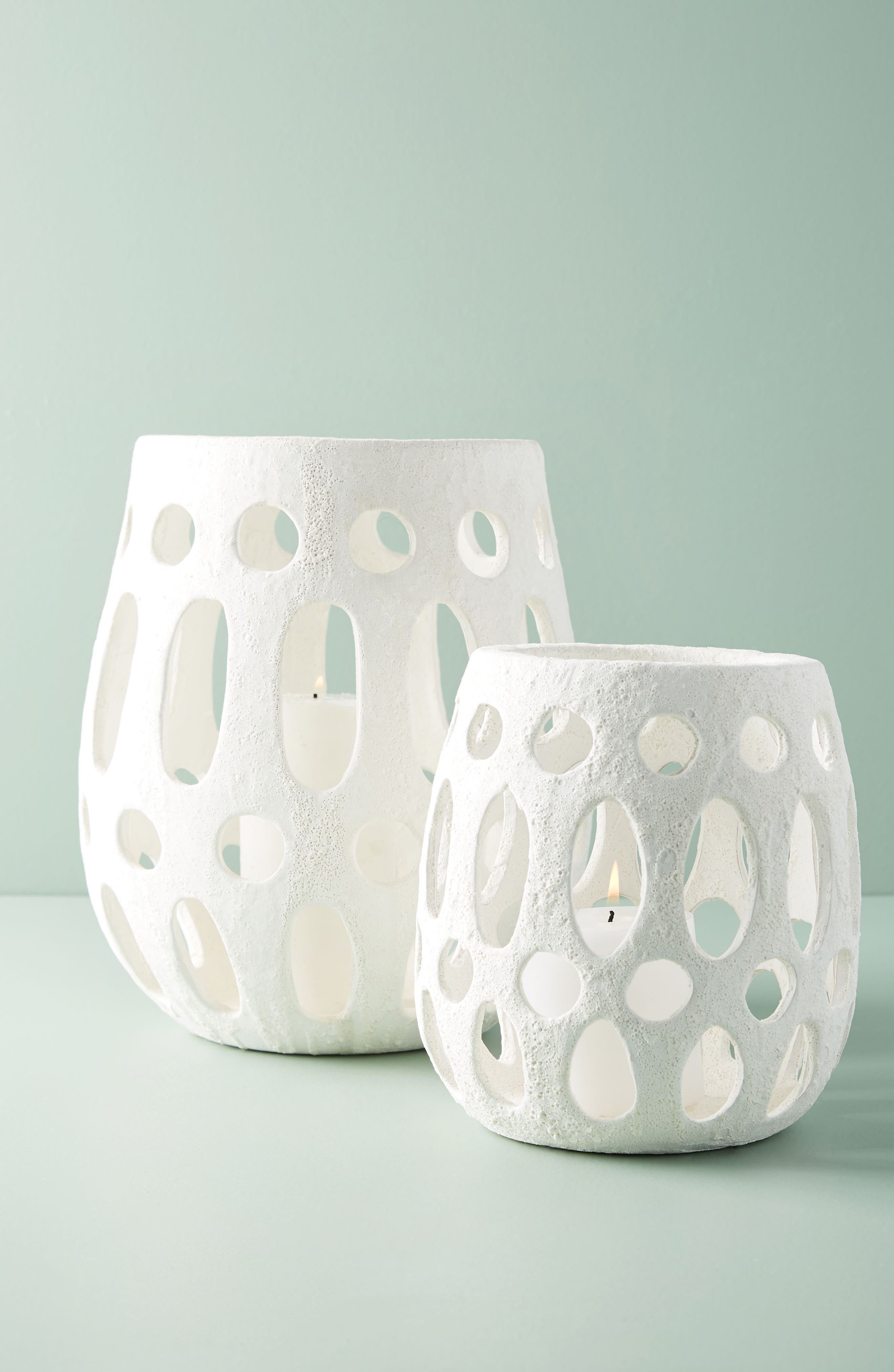 anthropologie hand carved ceramic hurricane candleholder, size medium - white