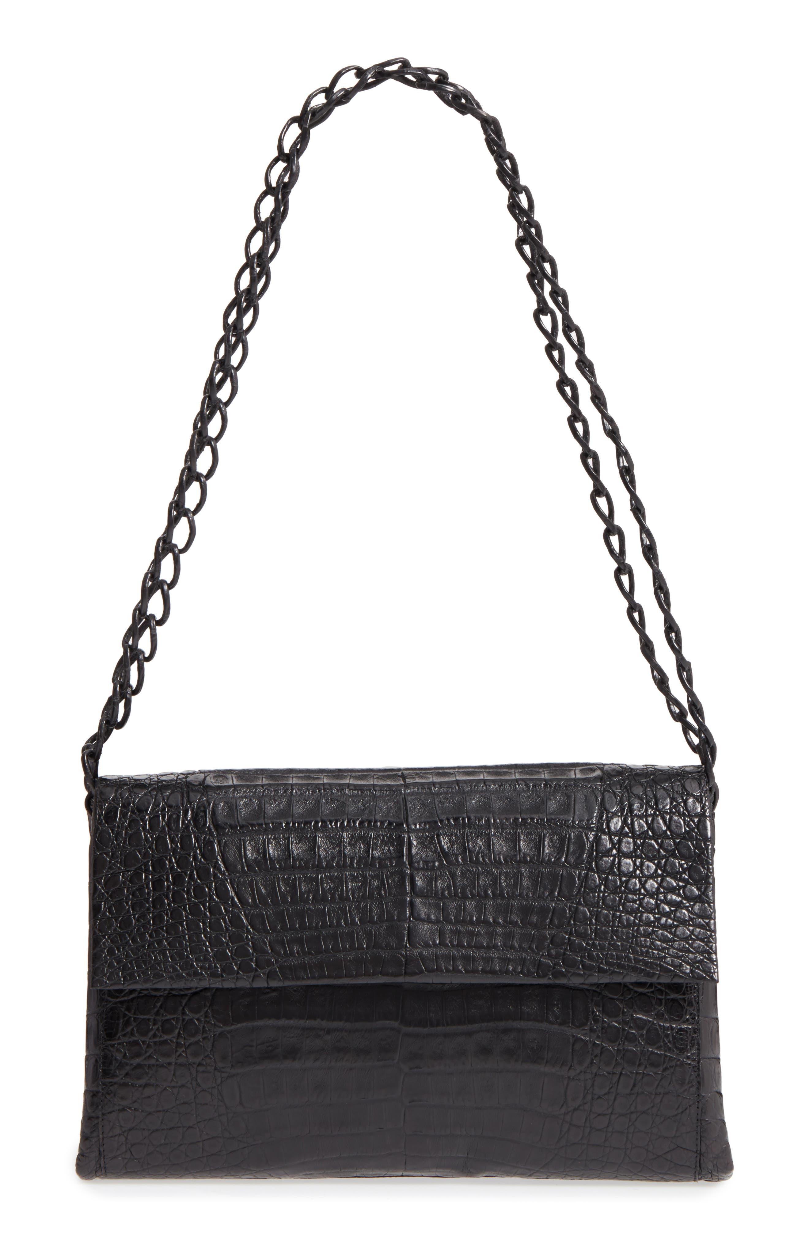 Genuine Crocodile Shoulder Bag,                         Main,                         color, BLACK MATTE