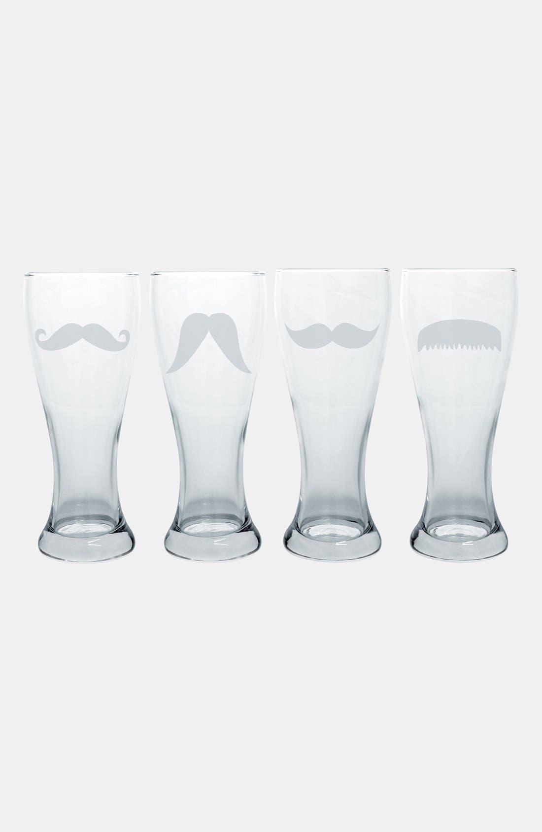 Mustache Pilsner Glasses,                             Alternate thumbnail 2, color,                             000