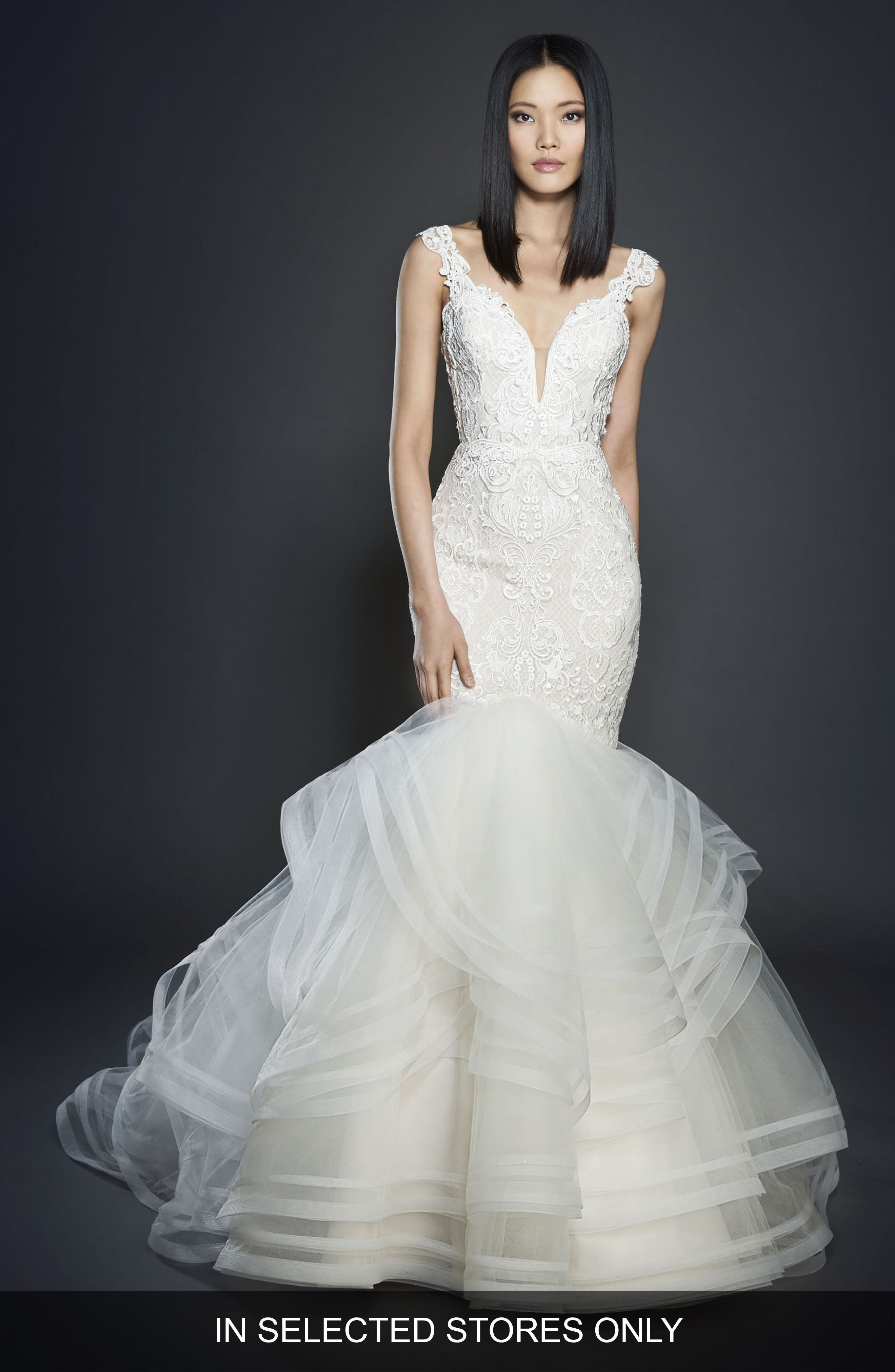 Lace & Tulle Mermaid Gown, Main, color, IVORY/ CASHMERE