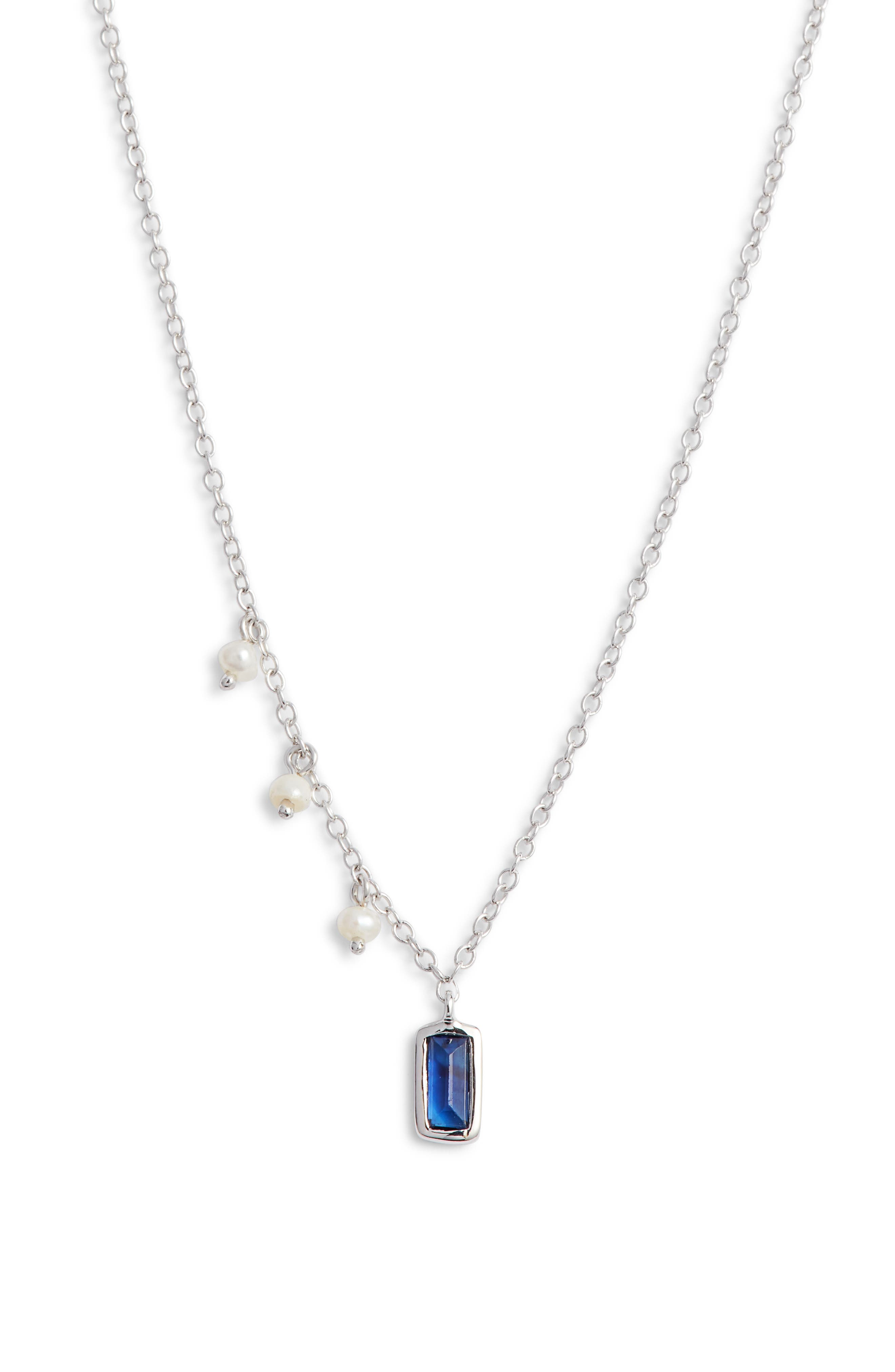 MEIRA T Sapphire & Pearl Pendant Necklace in White