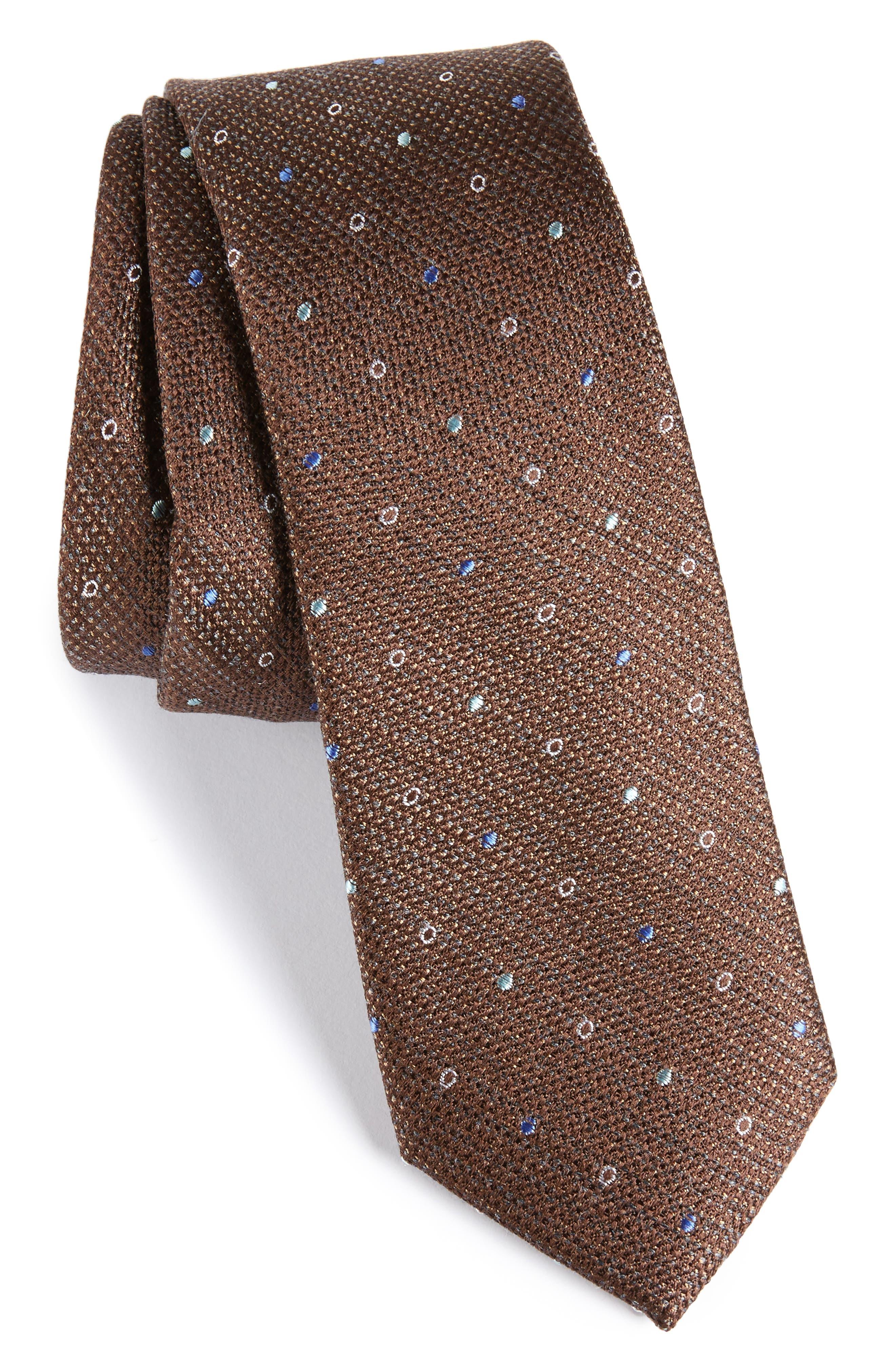 Brubeck Neat Silk Blend Tie,                             Main thumbnail 3, color,