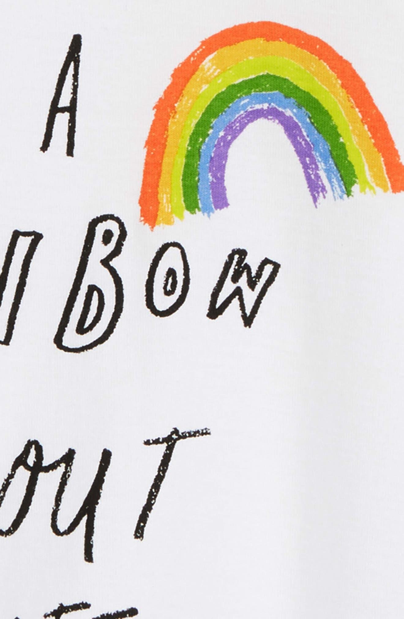 Rainbow Graphic Cotton Romper,                             Alternate thumbnail 3, color,                             WHITE