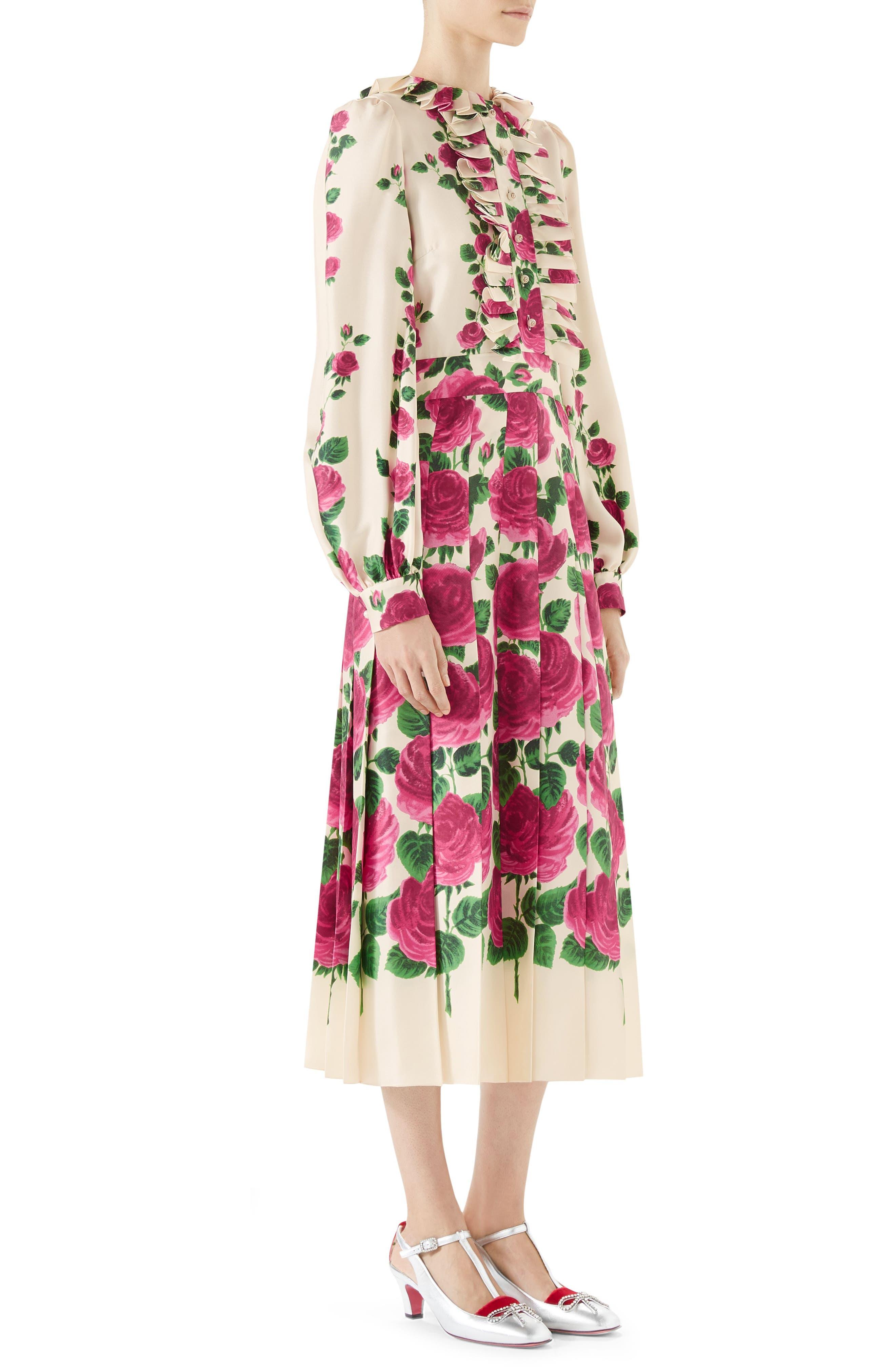 Pleated Rose Print Silk Midi Dress,                             Alternate thumbnail 3, color,                             IVORY PINK