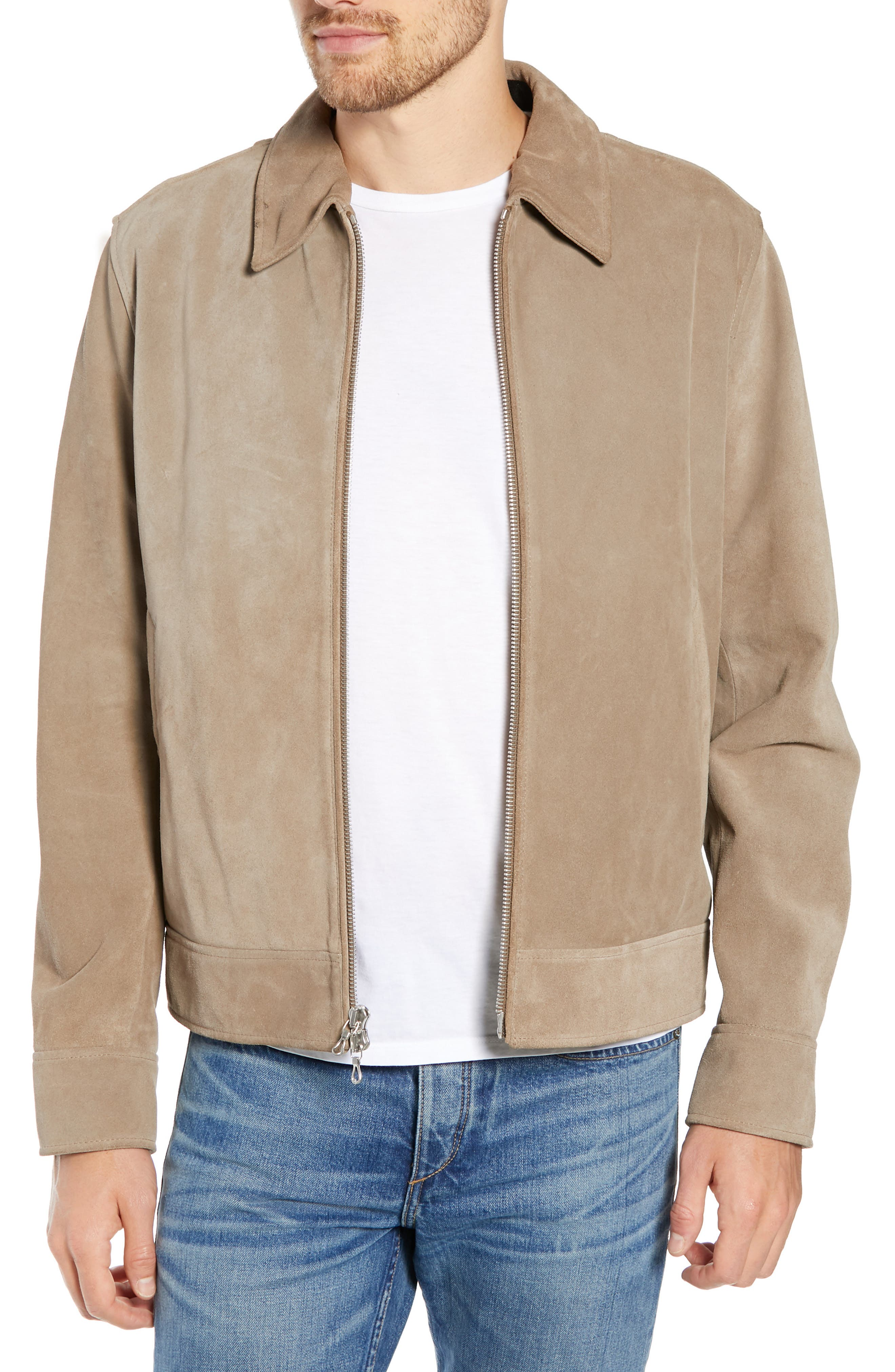 RAG & BONE Regular Fit Suede Garage Jacket, Main, color, CEMENT