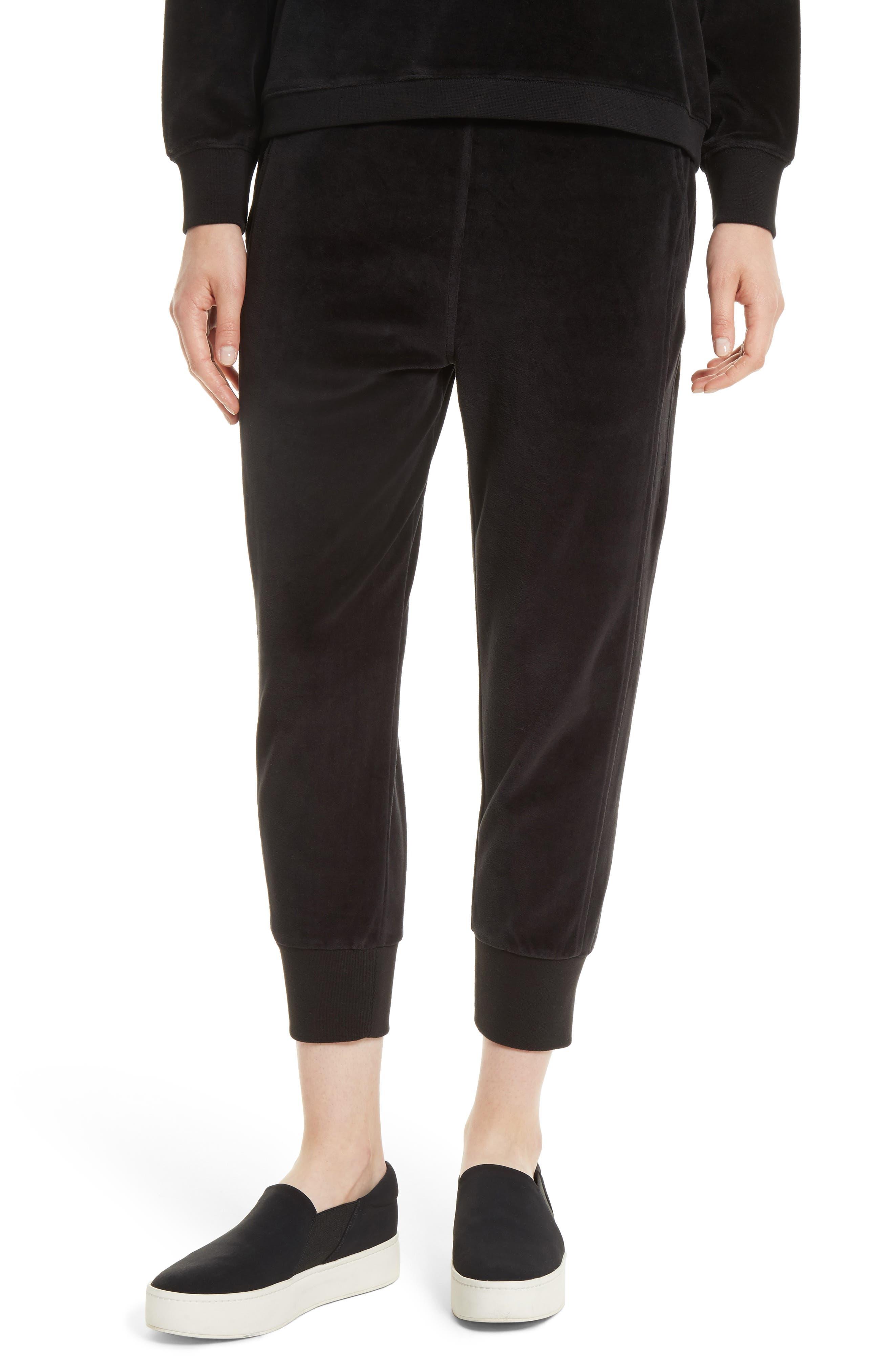 Velour Cuffed Jogger Pants,                         Main,                         color, 001