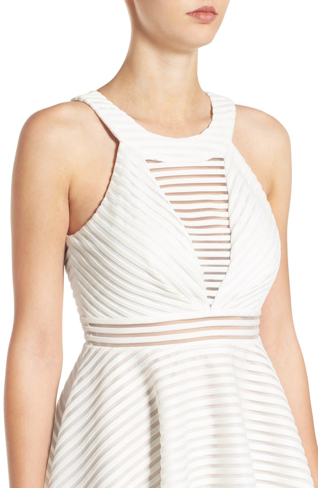 High Neck Shadow Stripe Skater Dress,                             Alternate thumbnail 2, color,                             151