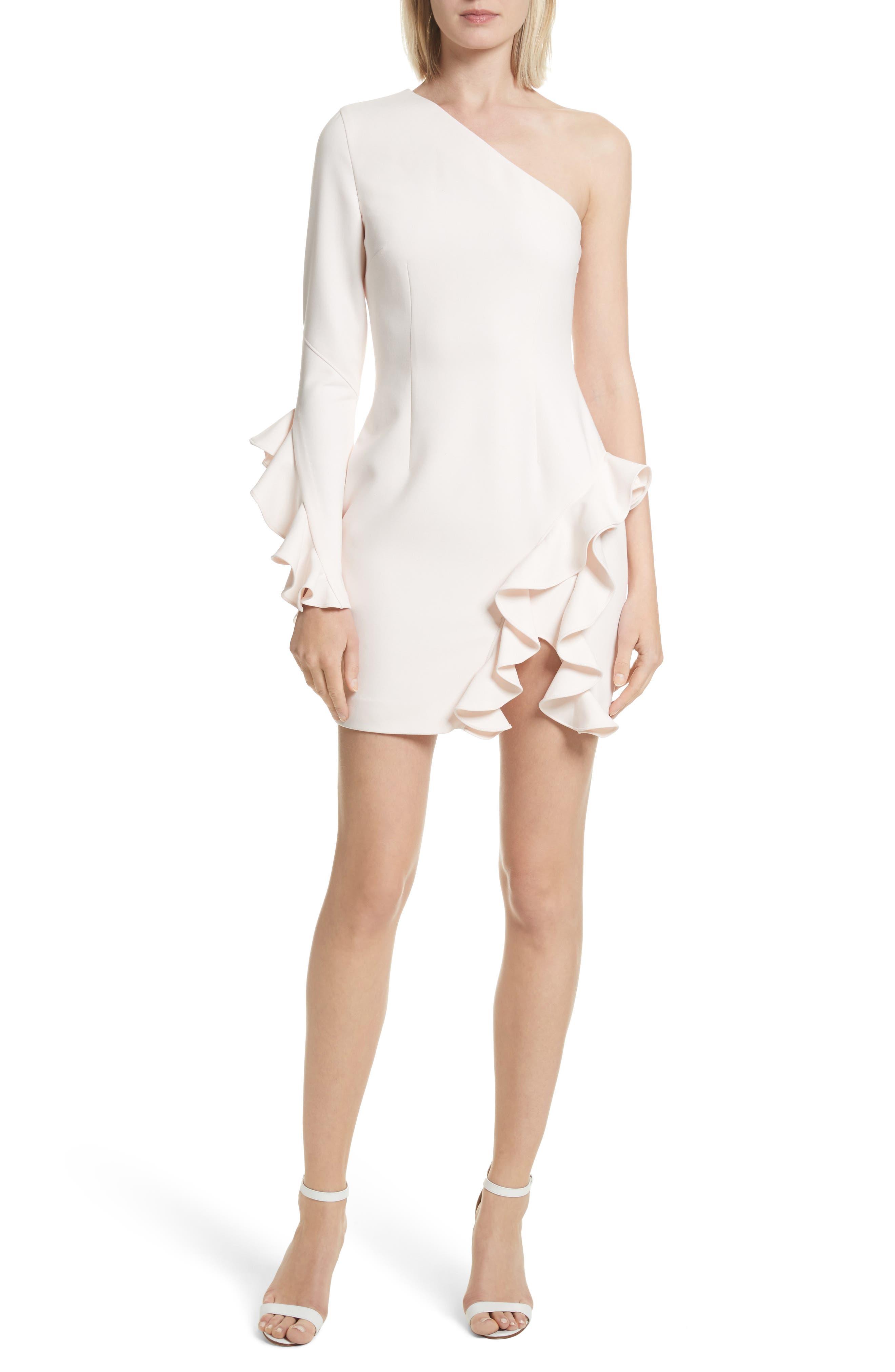 Pia Ruffle Trim One-Shoulder Dress,                             Alternate thumbnail 5, color,                             656