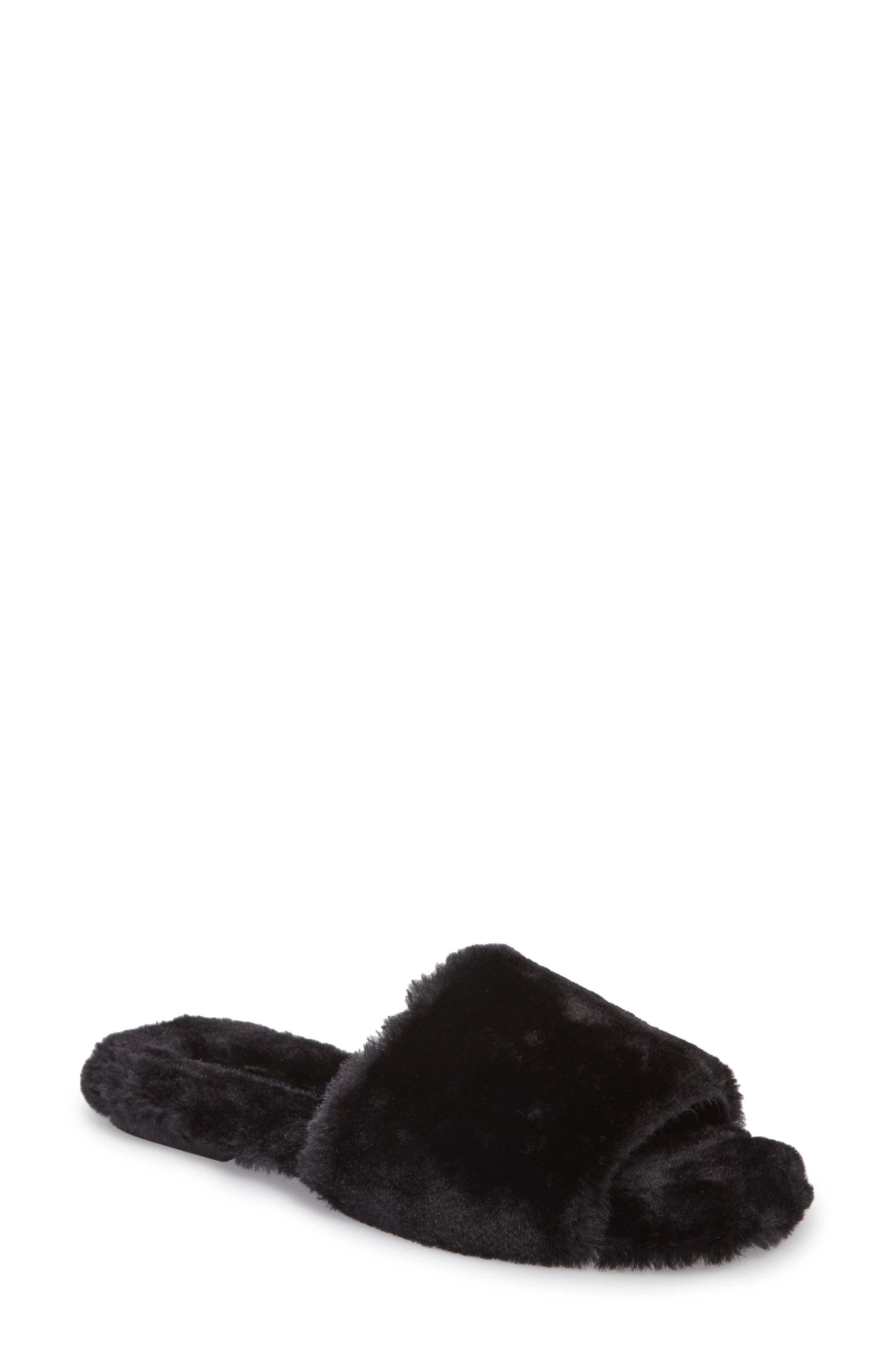 Motel-F Faux Fur Slide Sandal,                             Main thumbnail 1, color,