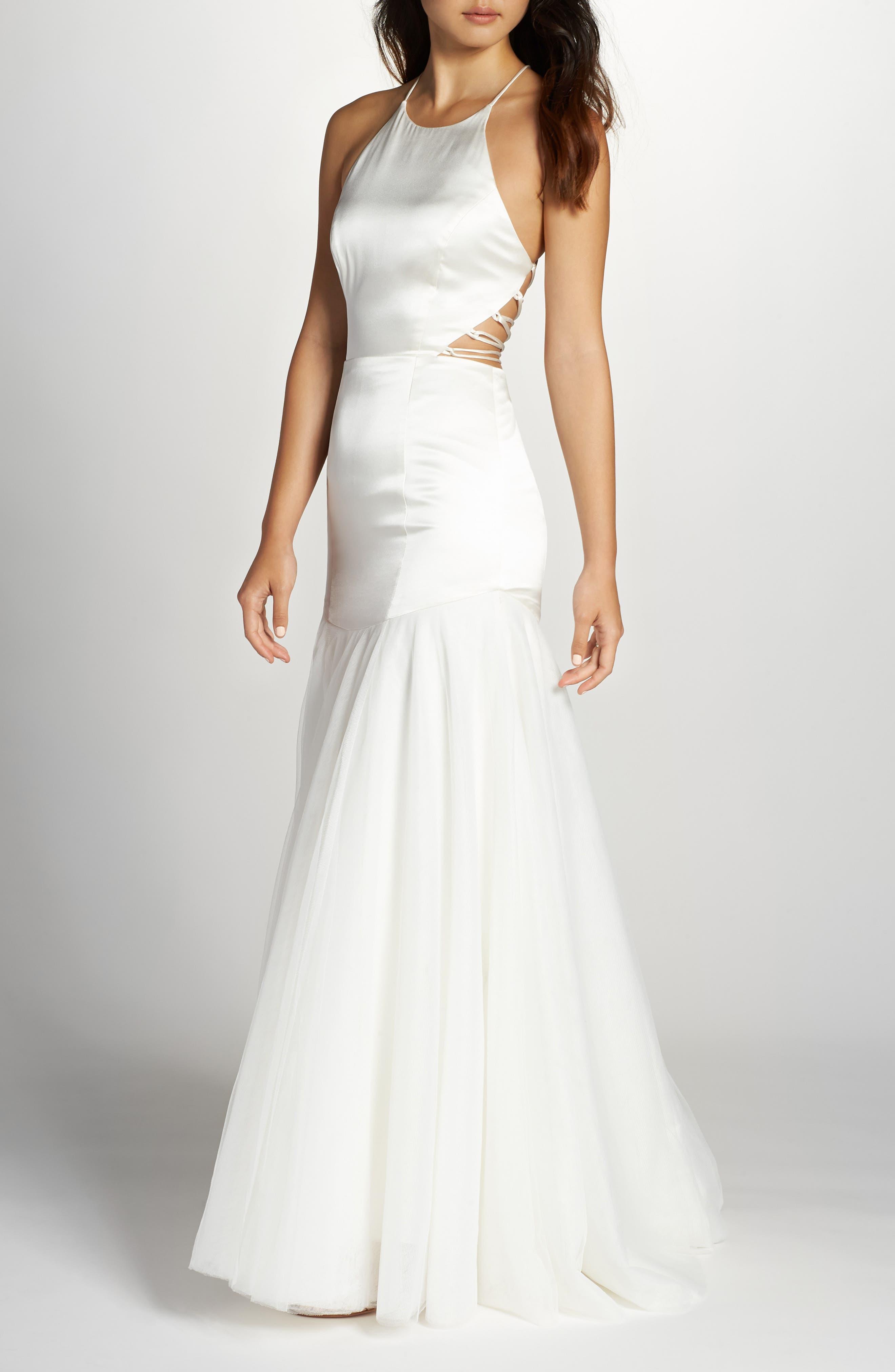 Fame & Partners Alexandrina Strappy Satin & Tulle Mermaid Gown, 8 (similar to 16W-18W) - White