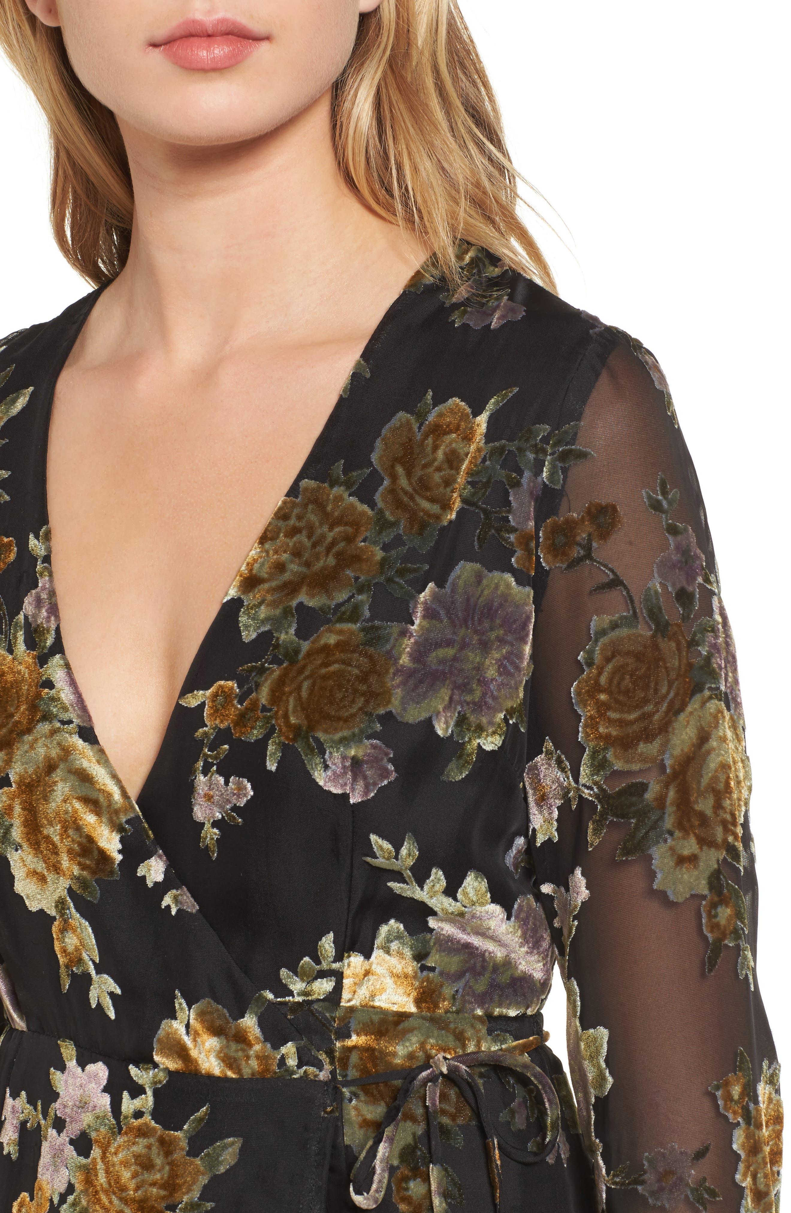 Sonya Wrap Midi Dress,                             Alternate thumbnail 4, color,                             003