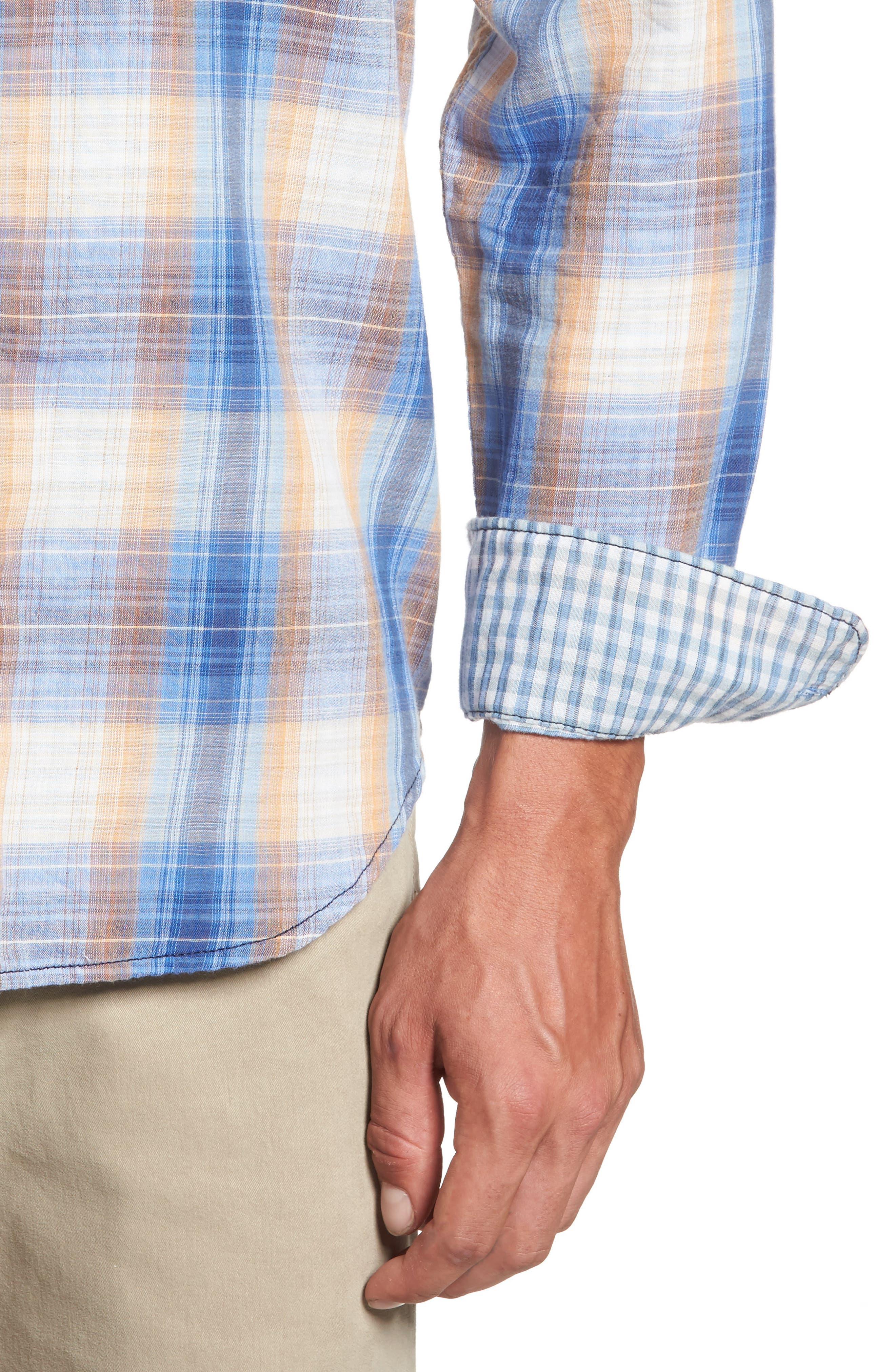 Duble' Ombré Standard Fit Plaid Sport Shirt,                             Alternate thumbnail 4, color,                             400