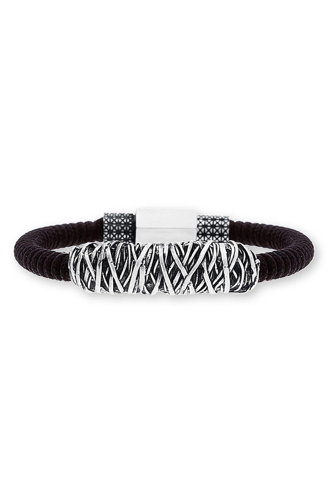 Twisted Metal Cord Bracelet,                             Main thumbnail 1, color,                             001