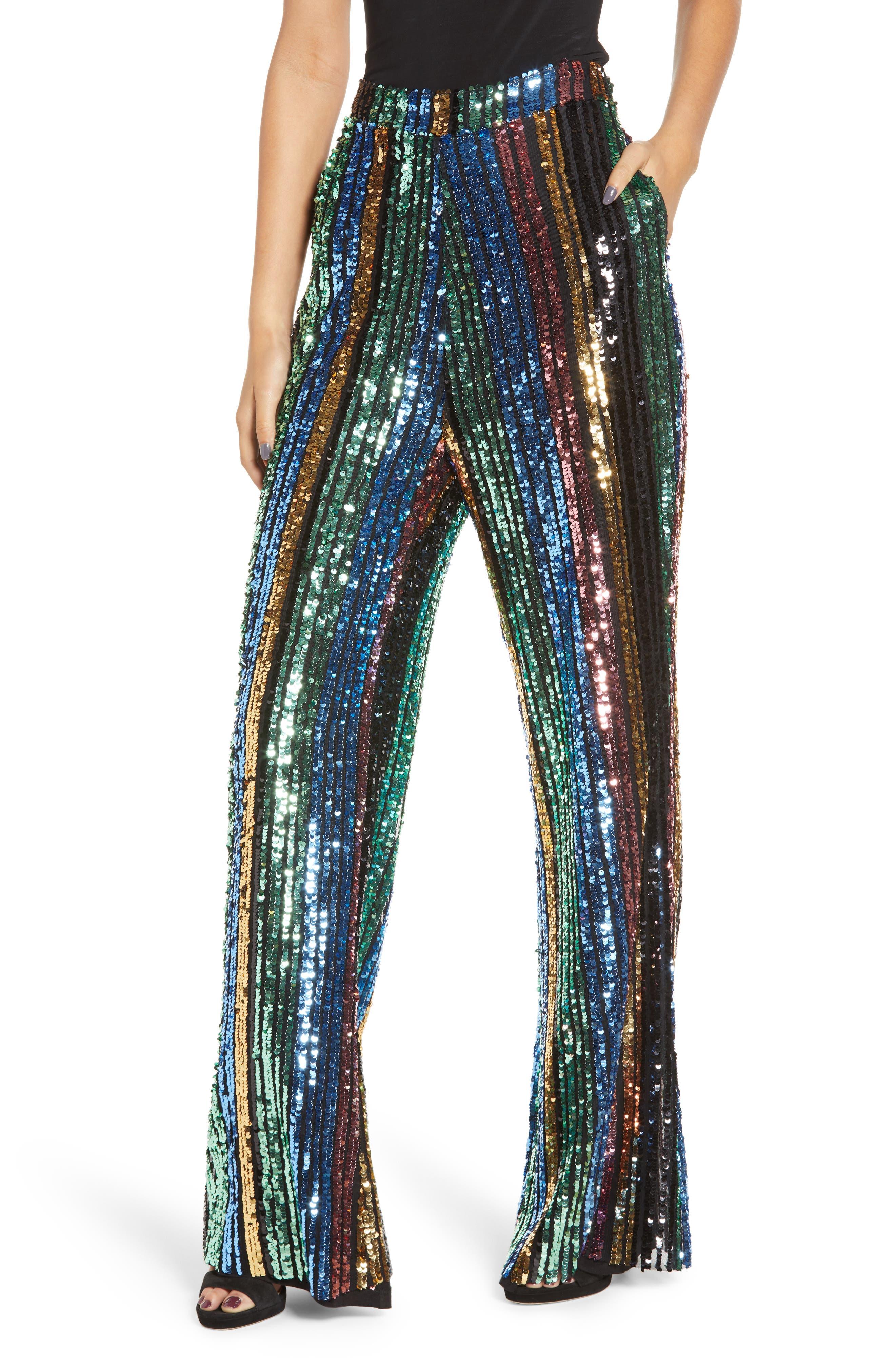 Leigh High Waist Sequin Stripe Pants, Main, color, COCKTAIL STRIPE SEQUINS