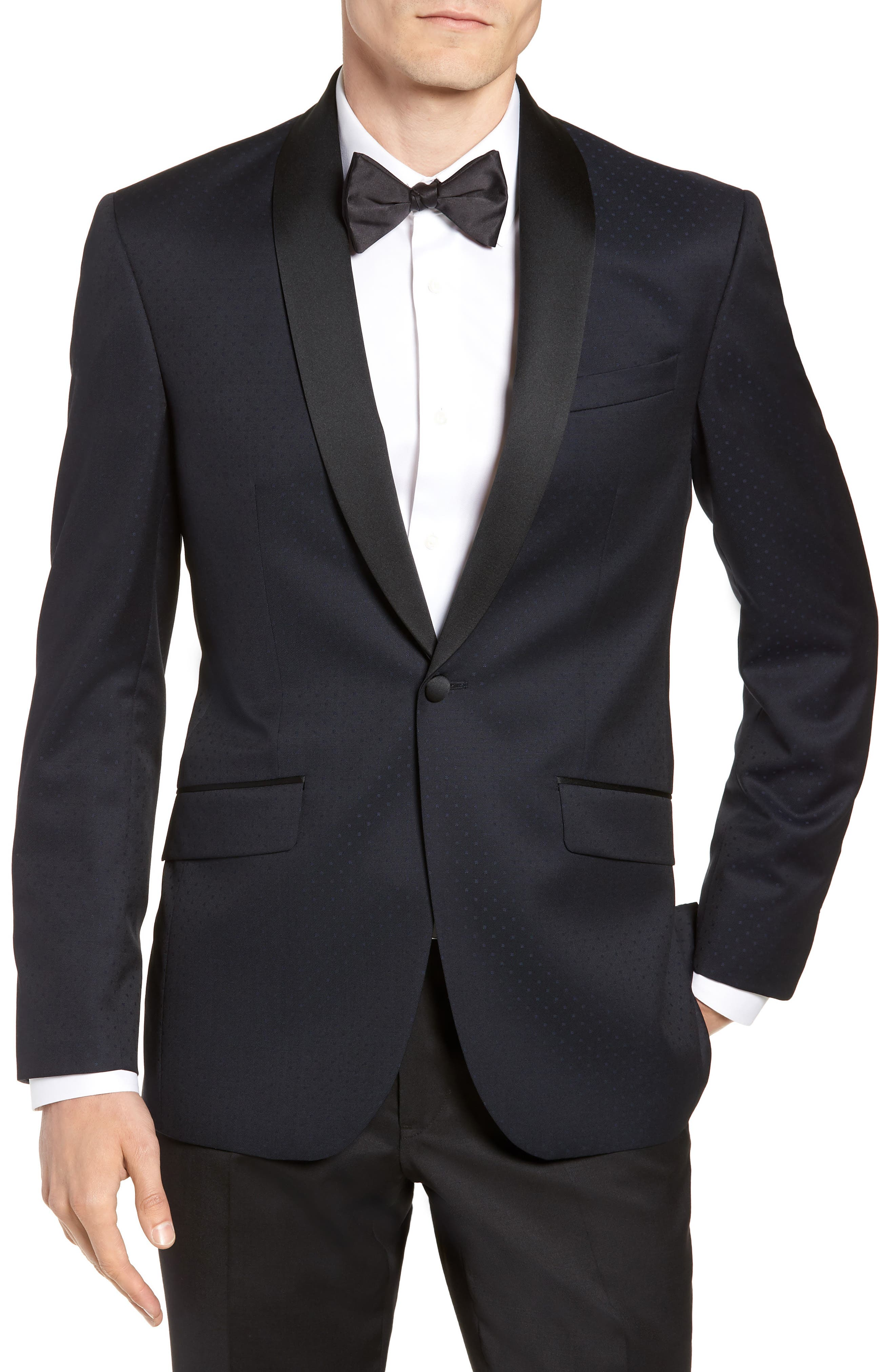 Josh Trim Fit Shawl Collar Wool Dinner Jacket,                             Main thumbnail 1, color,                             NAVY