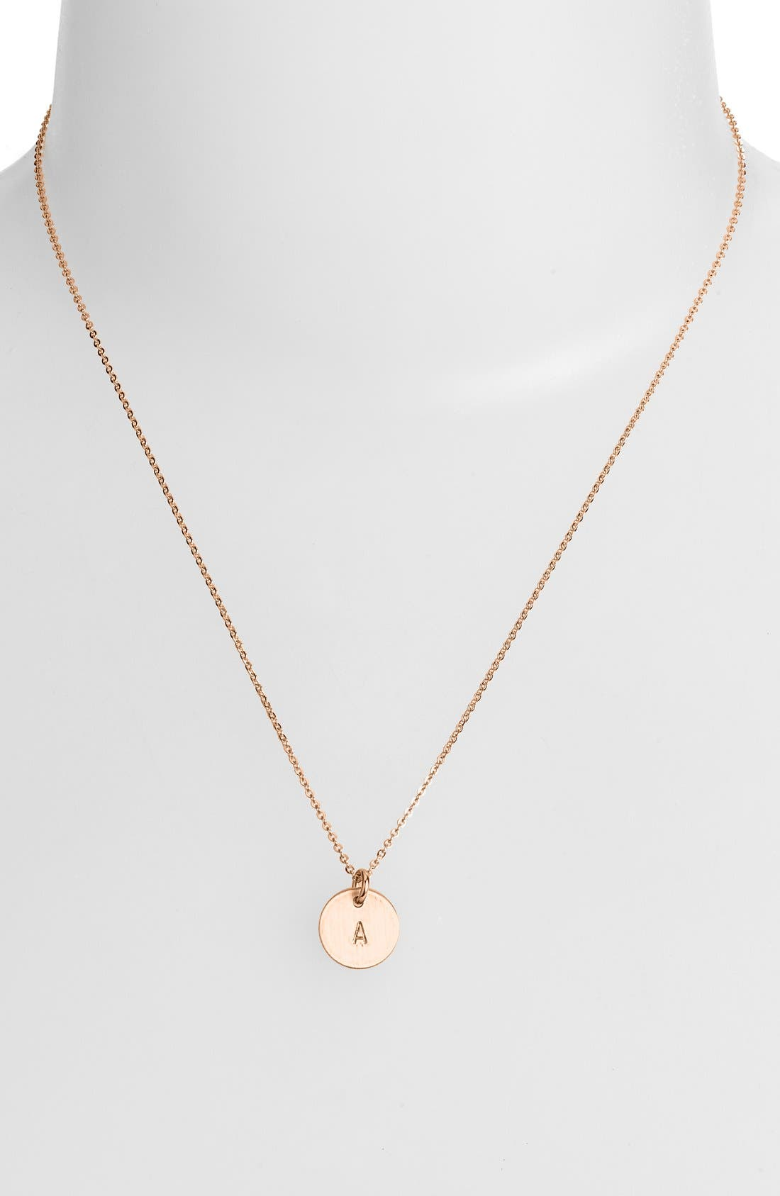 14k-Rose Gold Fill Initial Mini Disc Necklace,                             Alternate thumbnail 2, color,                             220