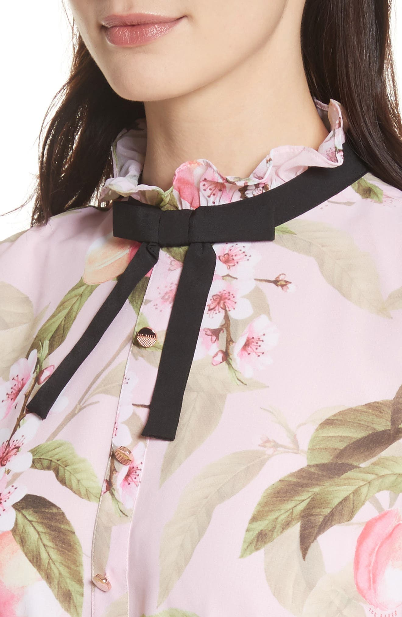 Peach Blossom Pleat Shirtdress,                             Alternate thumbnail 4, color,                             683