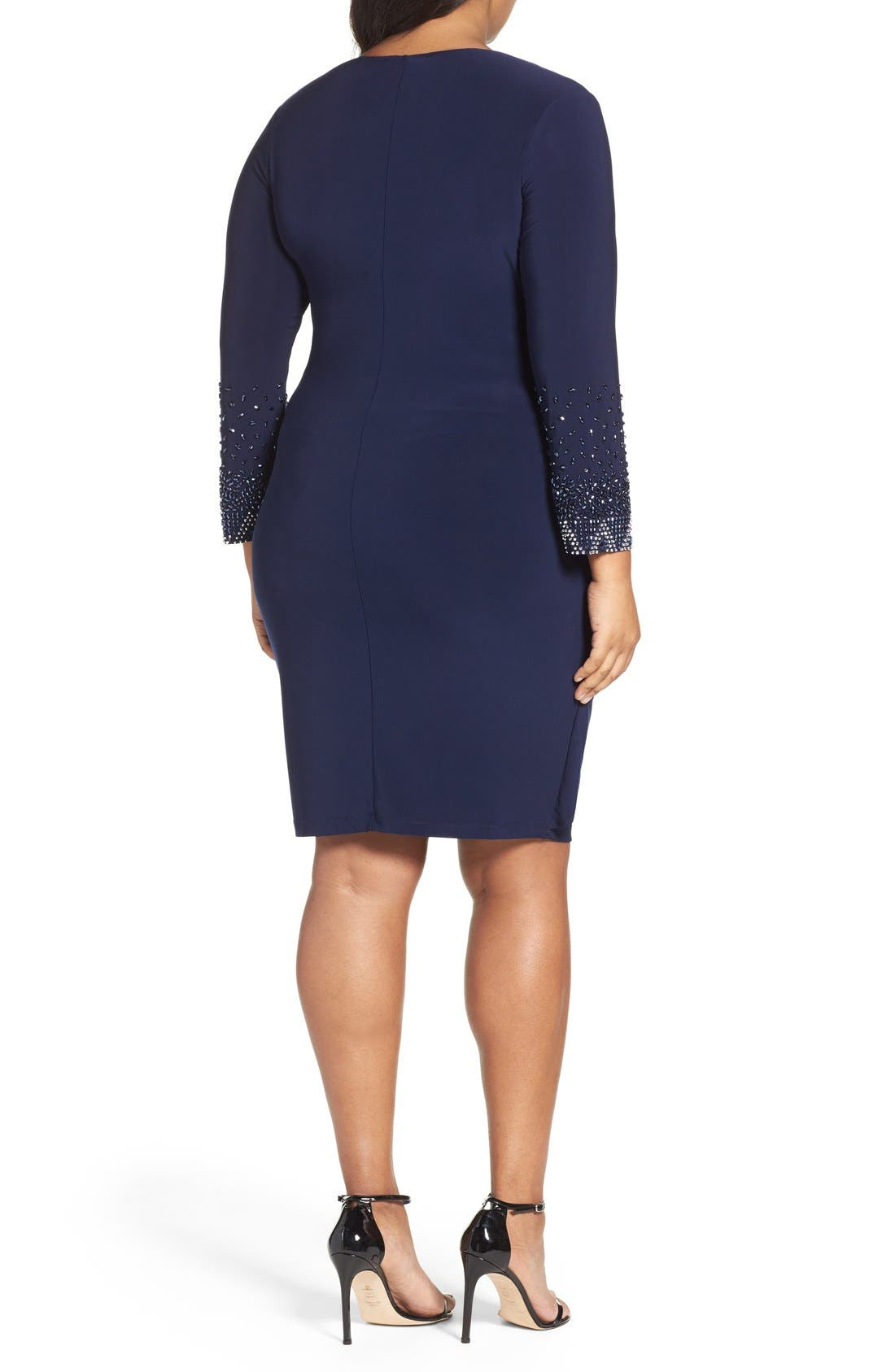 Embellished Faux Wrap Dress,                             Alternate thumbnail 7, color,                             410