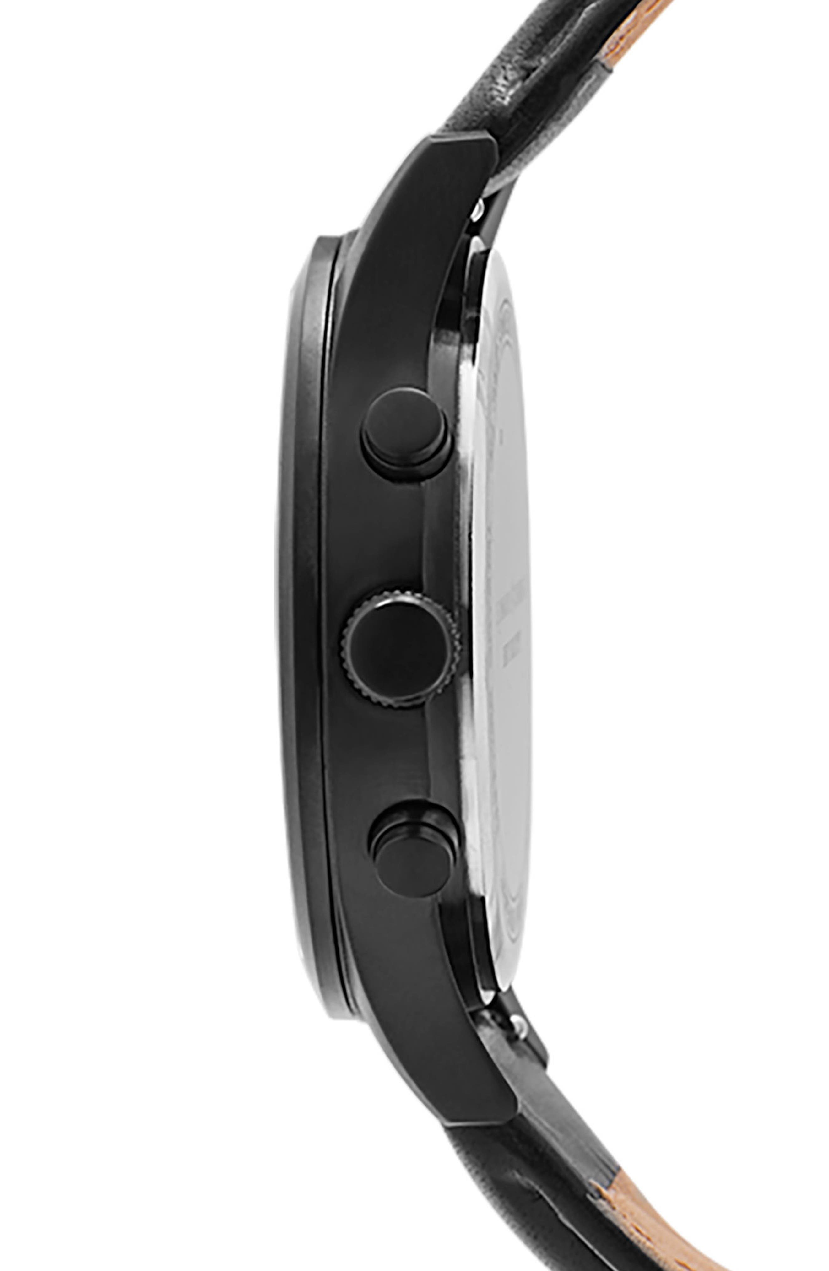 LEONARD & CHURCH,                             Bowery Chronograph Leather Strap Watch, 43mm,                             Alternate thumbnail 3, color,                             001