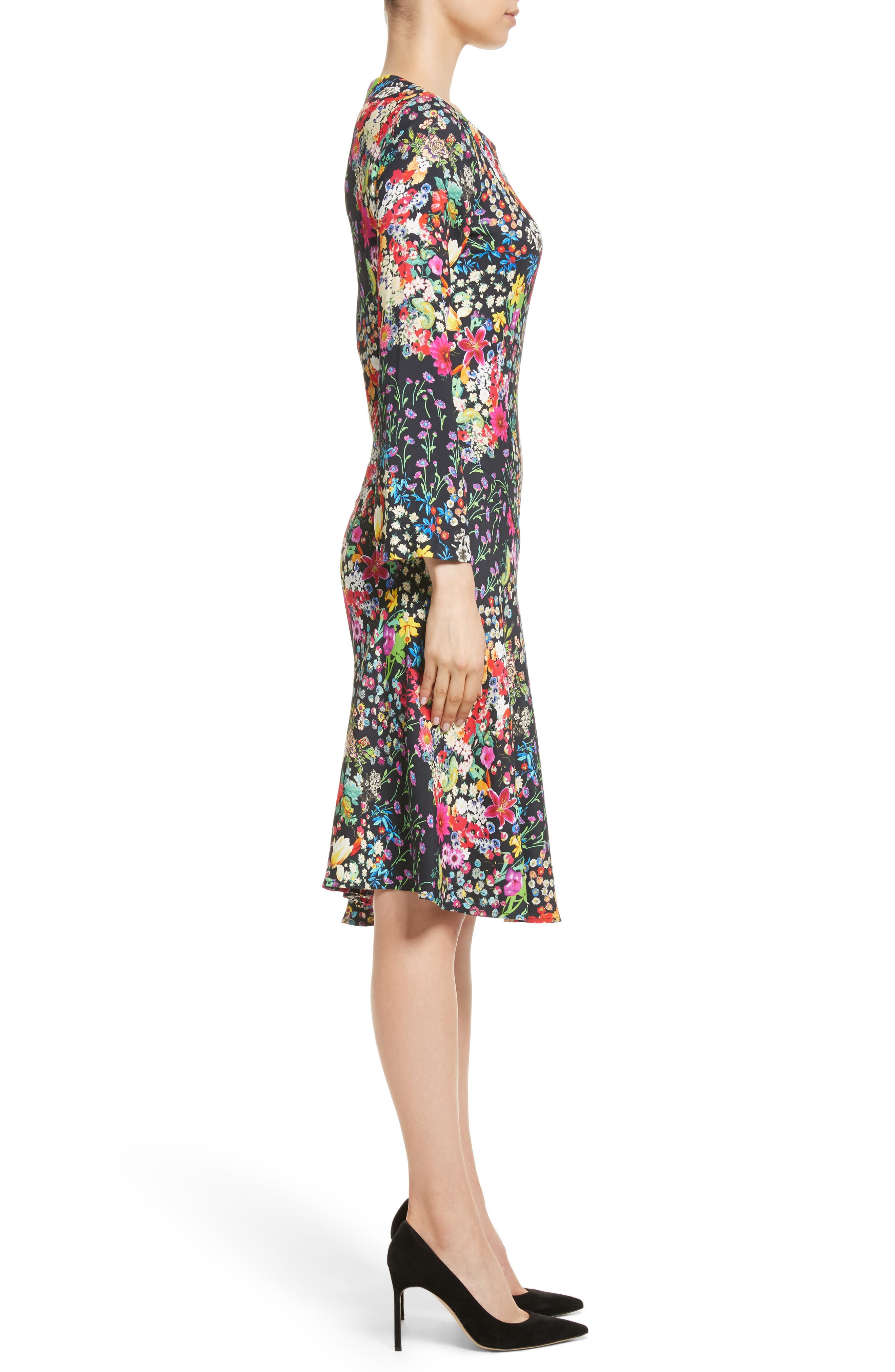 Micro Floral Print Dress,                             Alternate thumbnail 3, color,                             001