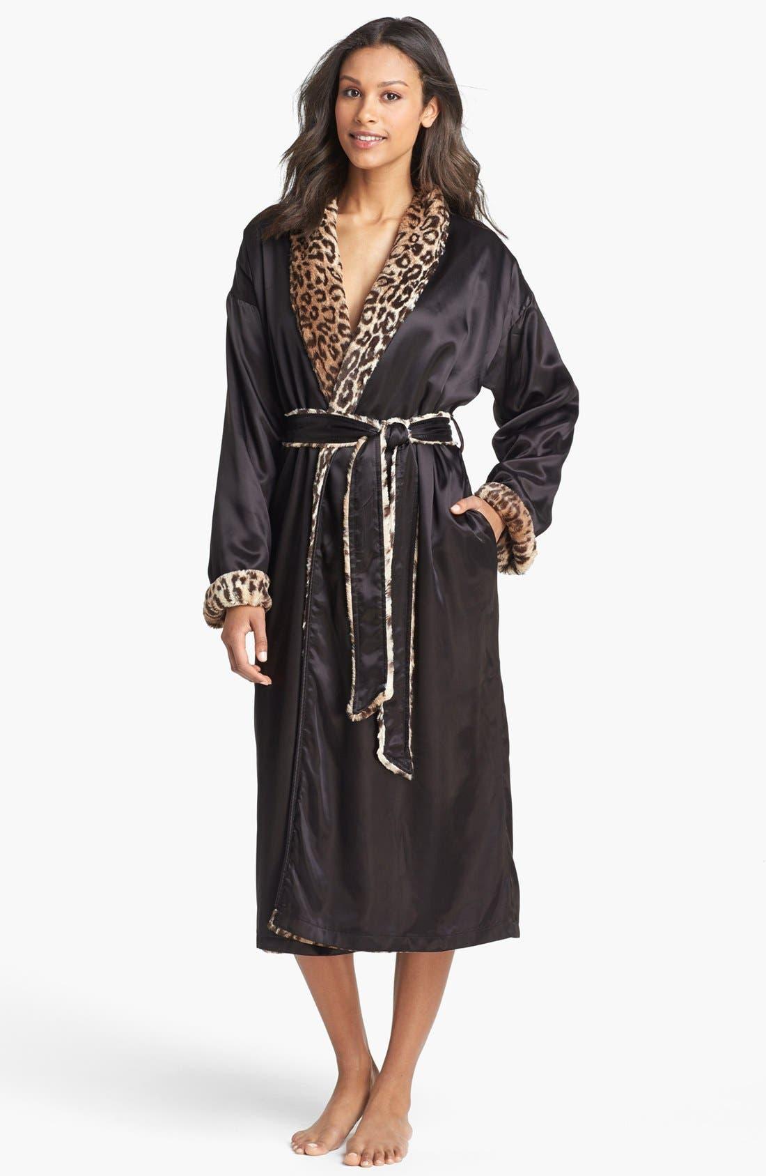 Faux Fur & Satin Robe,                         Main,                         color, ESPRESSO
