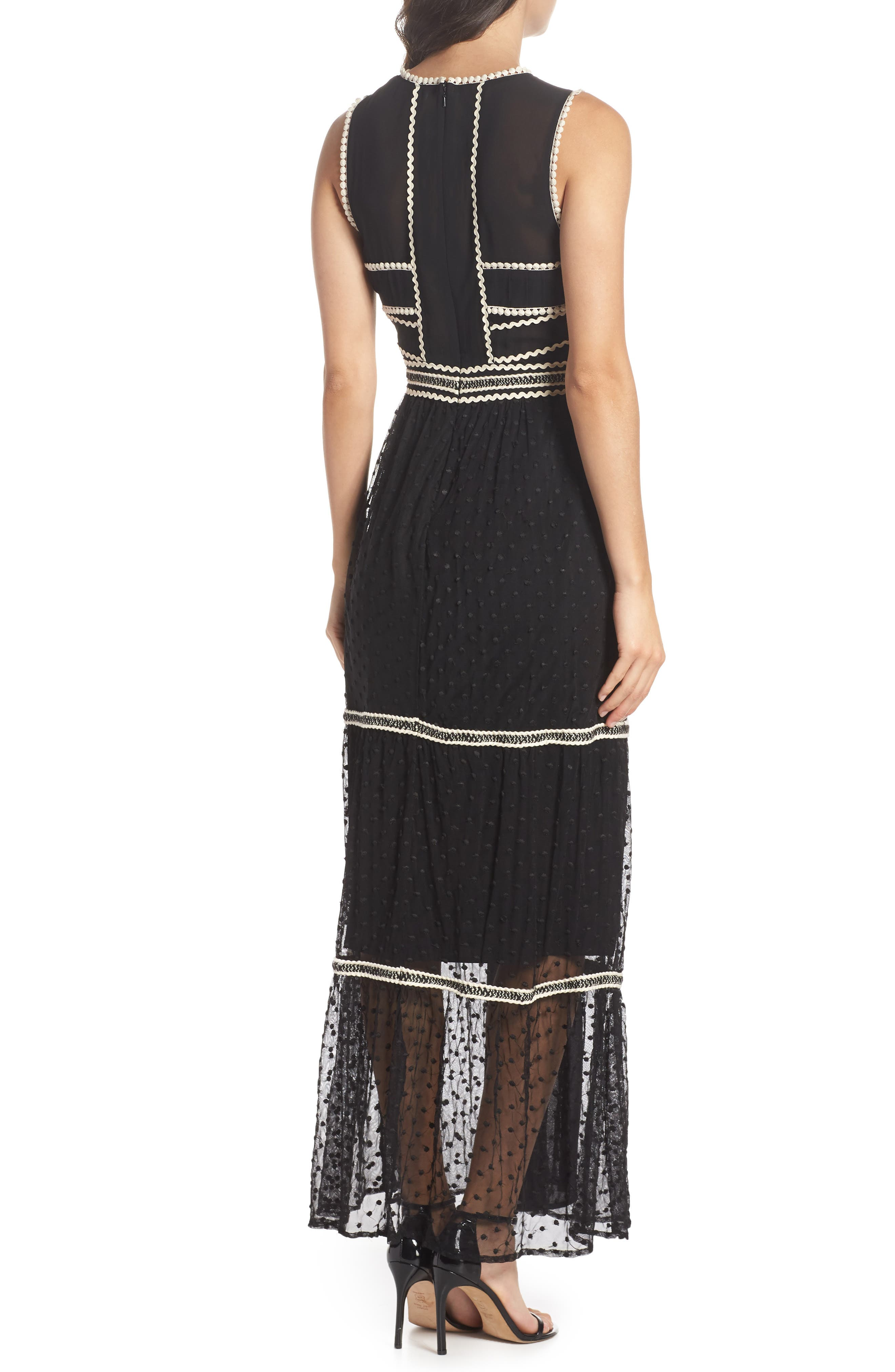 Embroidered Dot Gown,                             Alternate thumbnail 2, color,                             BLACK/ IVORY
