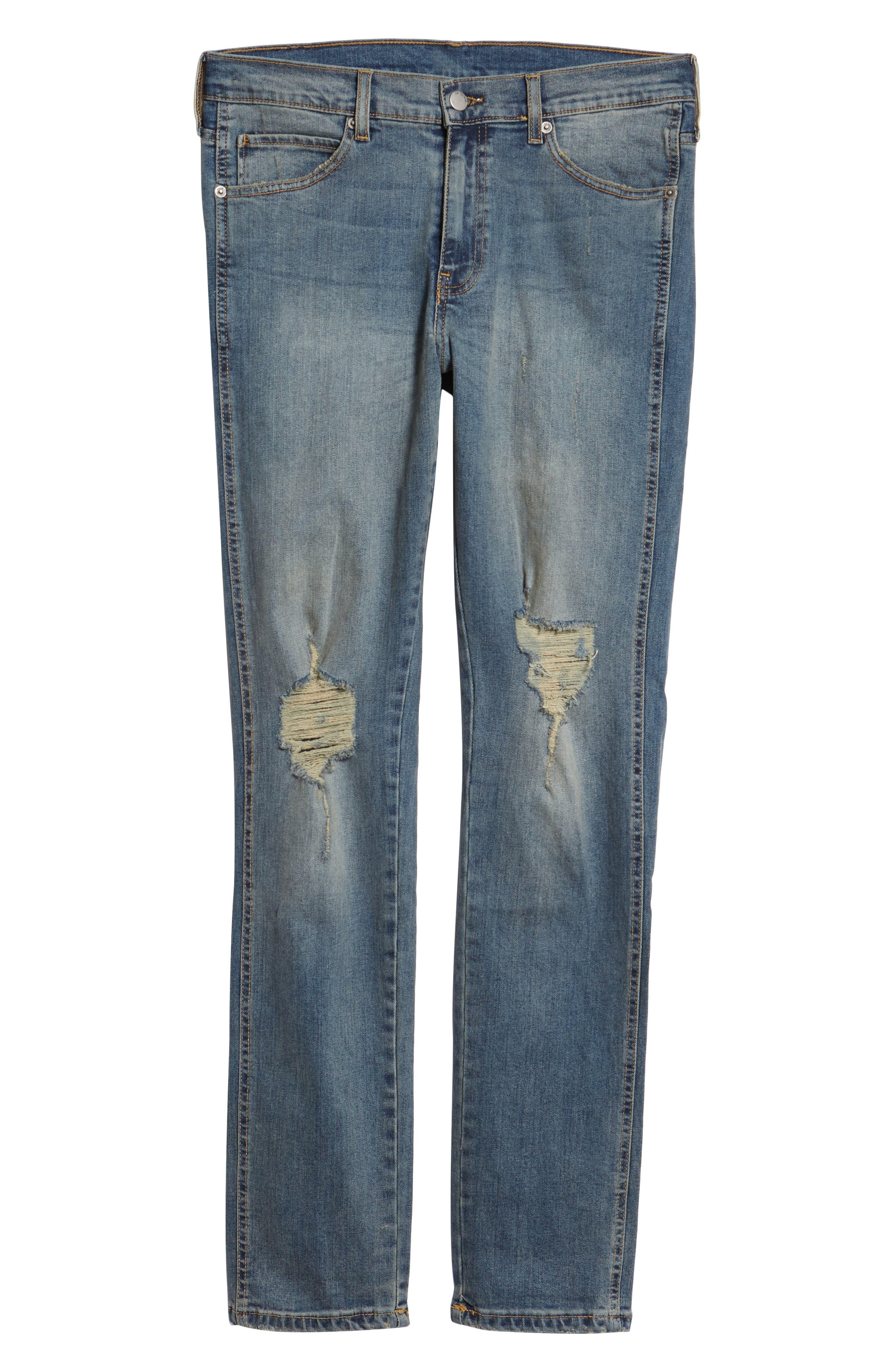Snap Skinny Fit Jeans,                             Alternate thumbnail 6, color,                             LIGHT OLD DESTROY