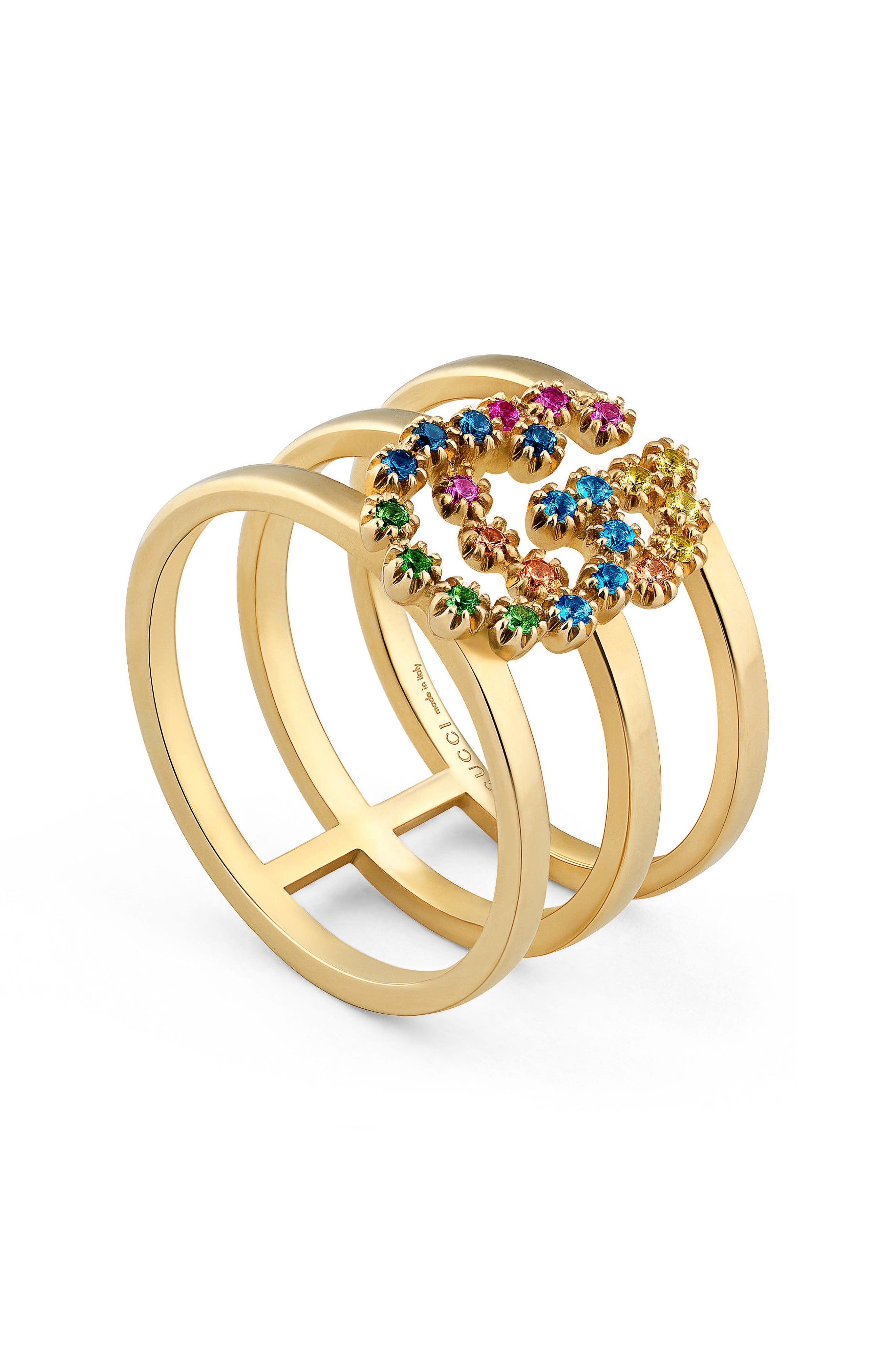 GUCCI Double G Multi Stone Three-Row Ring, Main, color, YELLOW GOLD