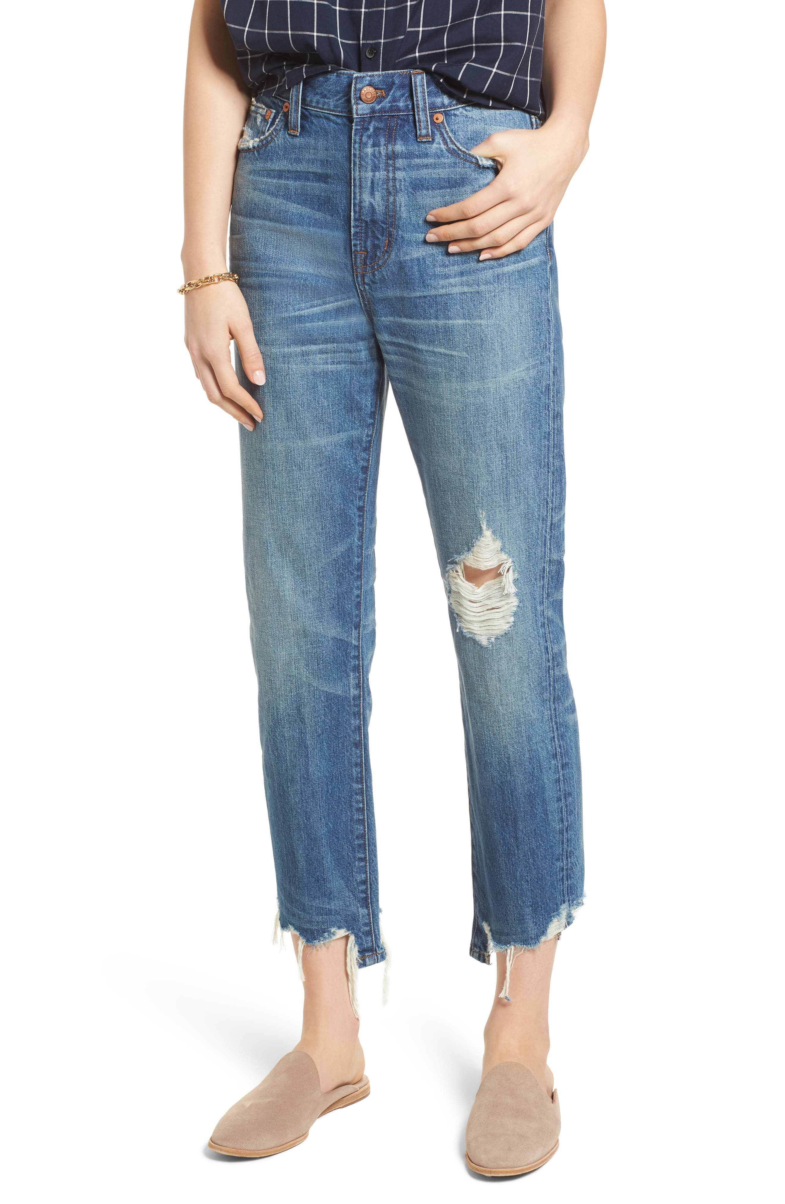 Perfect Summer Ripped High Waist Ankle Jeans,                         Main,                         color, 400