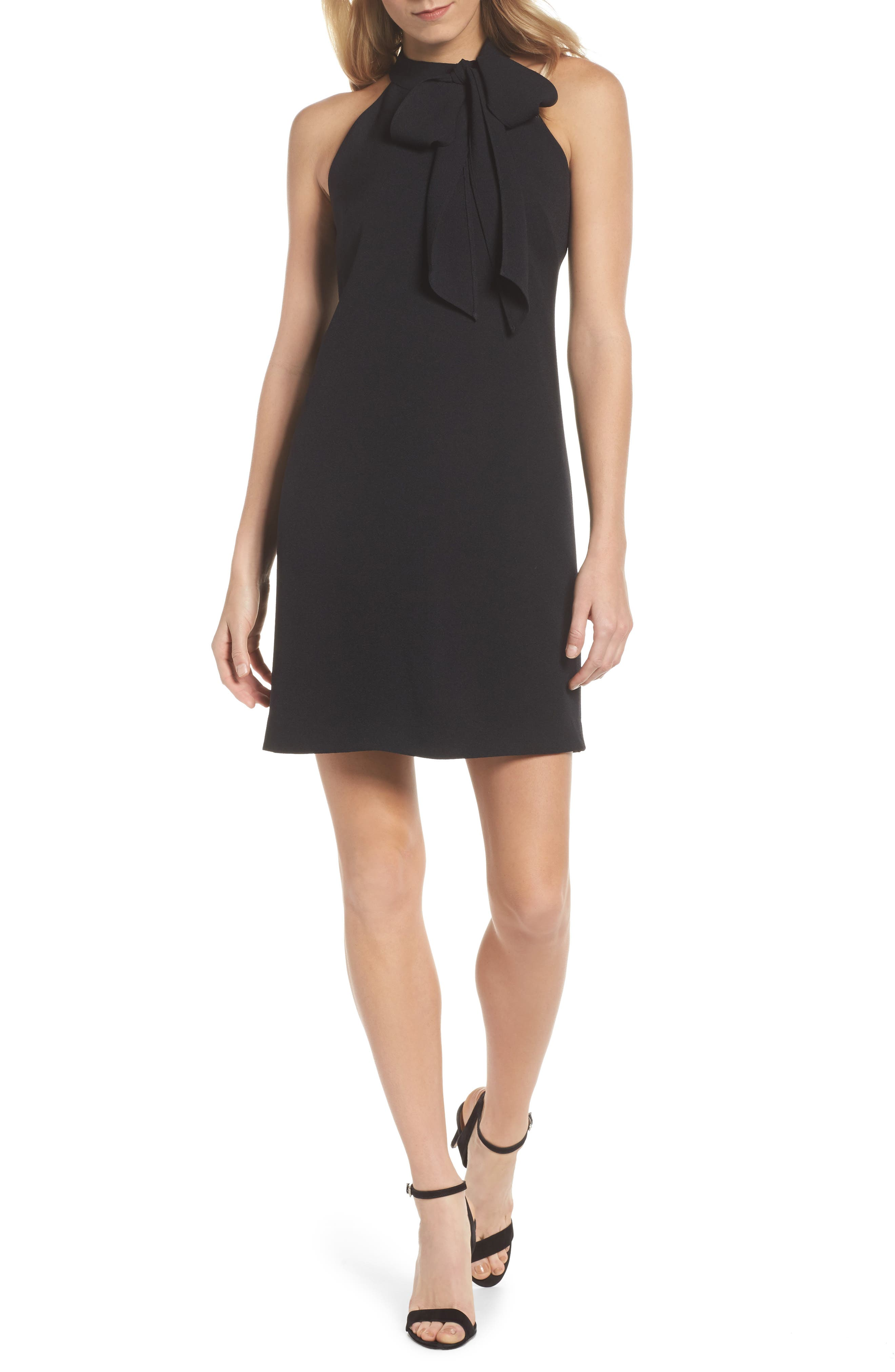 Vince Camuto Halter Tie Neck A-Line Dress, Black