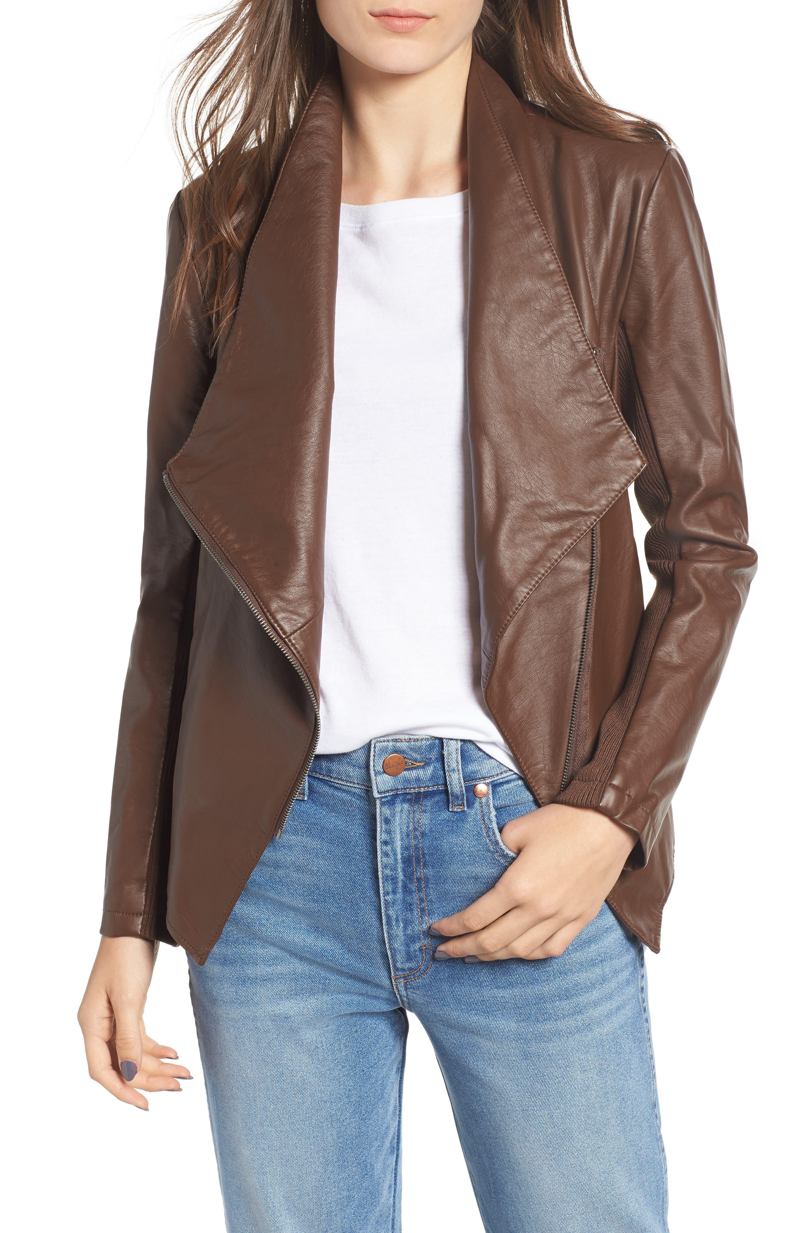Gabrielle Faux Leather Asymmetrical Jacket,                             Main thumbnail 1, color,                             202