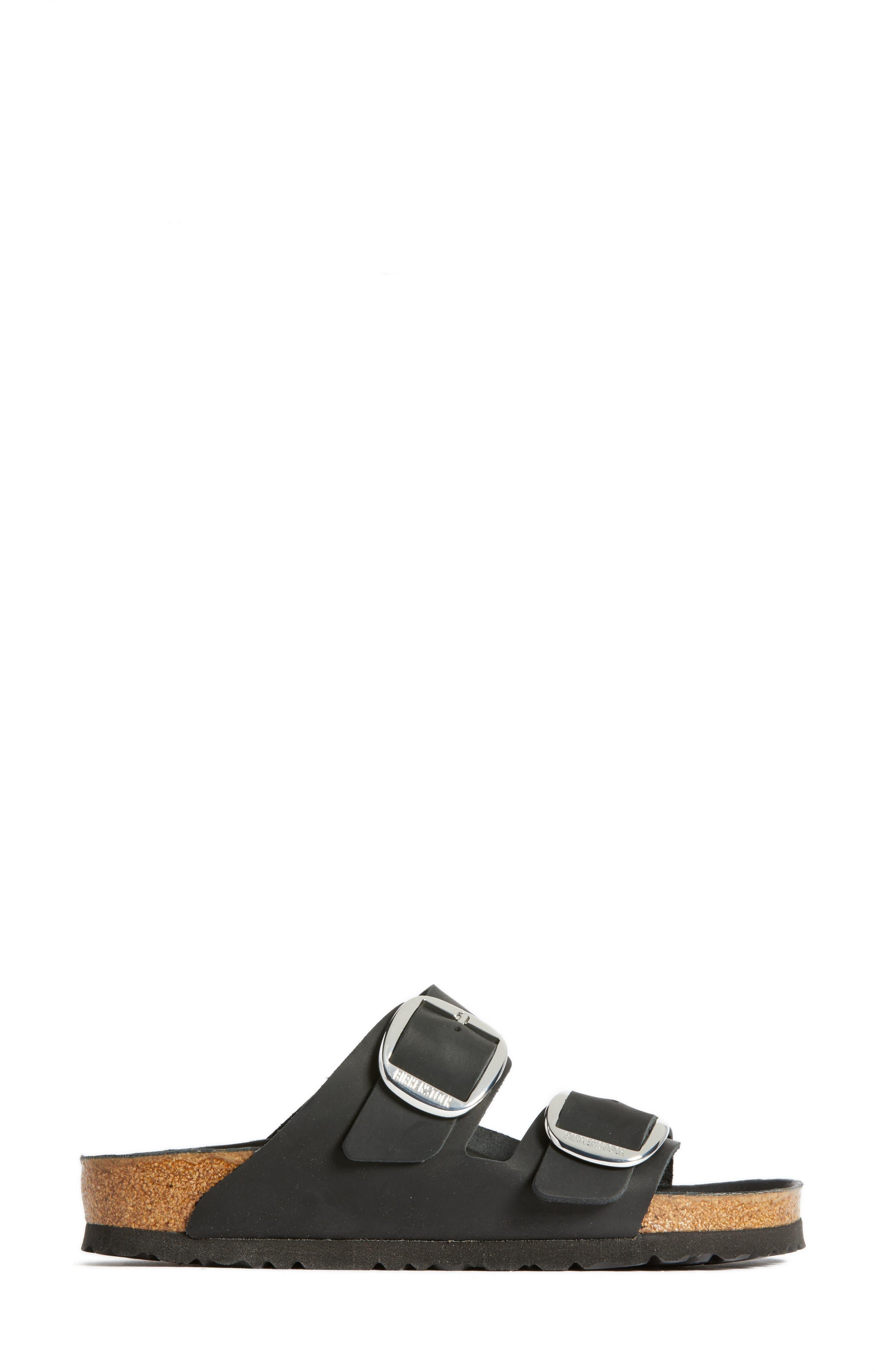Arizona Big Buckle Slide Sandal,                             Alternate thumbnail 3, color,                             BLACK LEATHER
