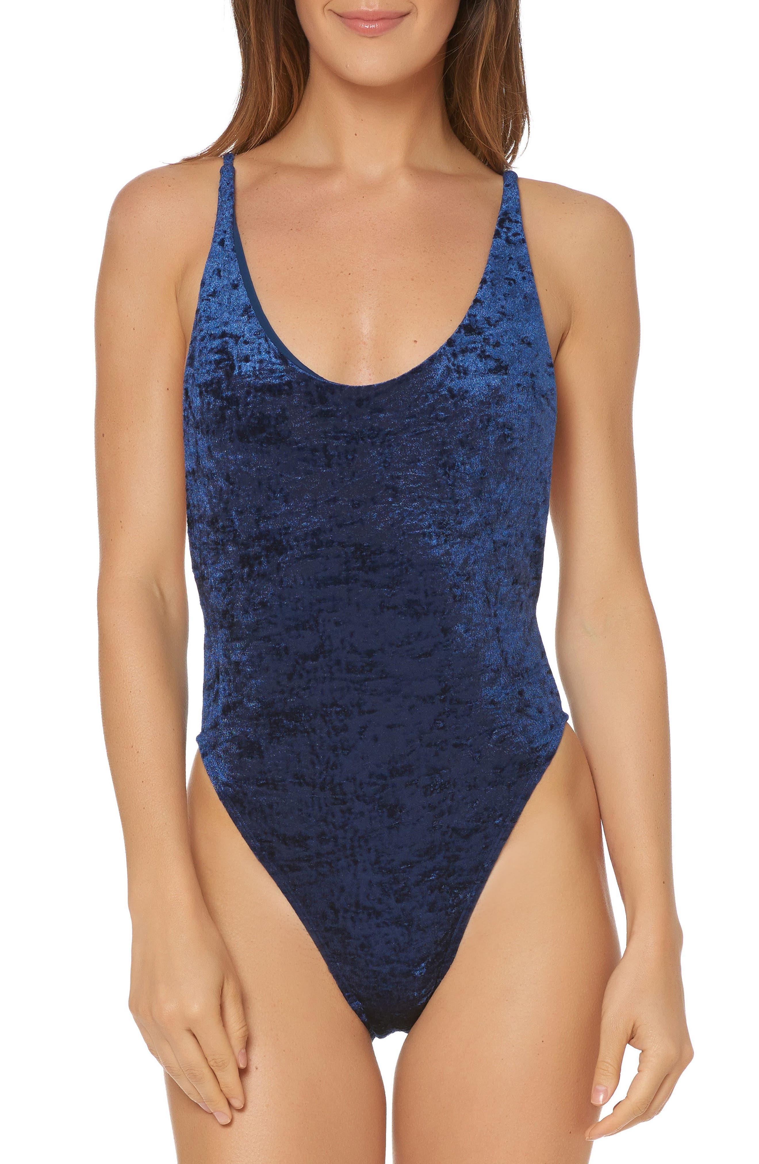 Velvet One-Piece Swimsuit,                             Main thumbnail 1, color,                             412