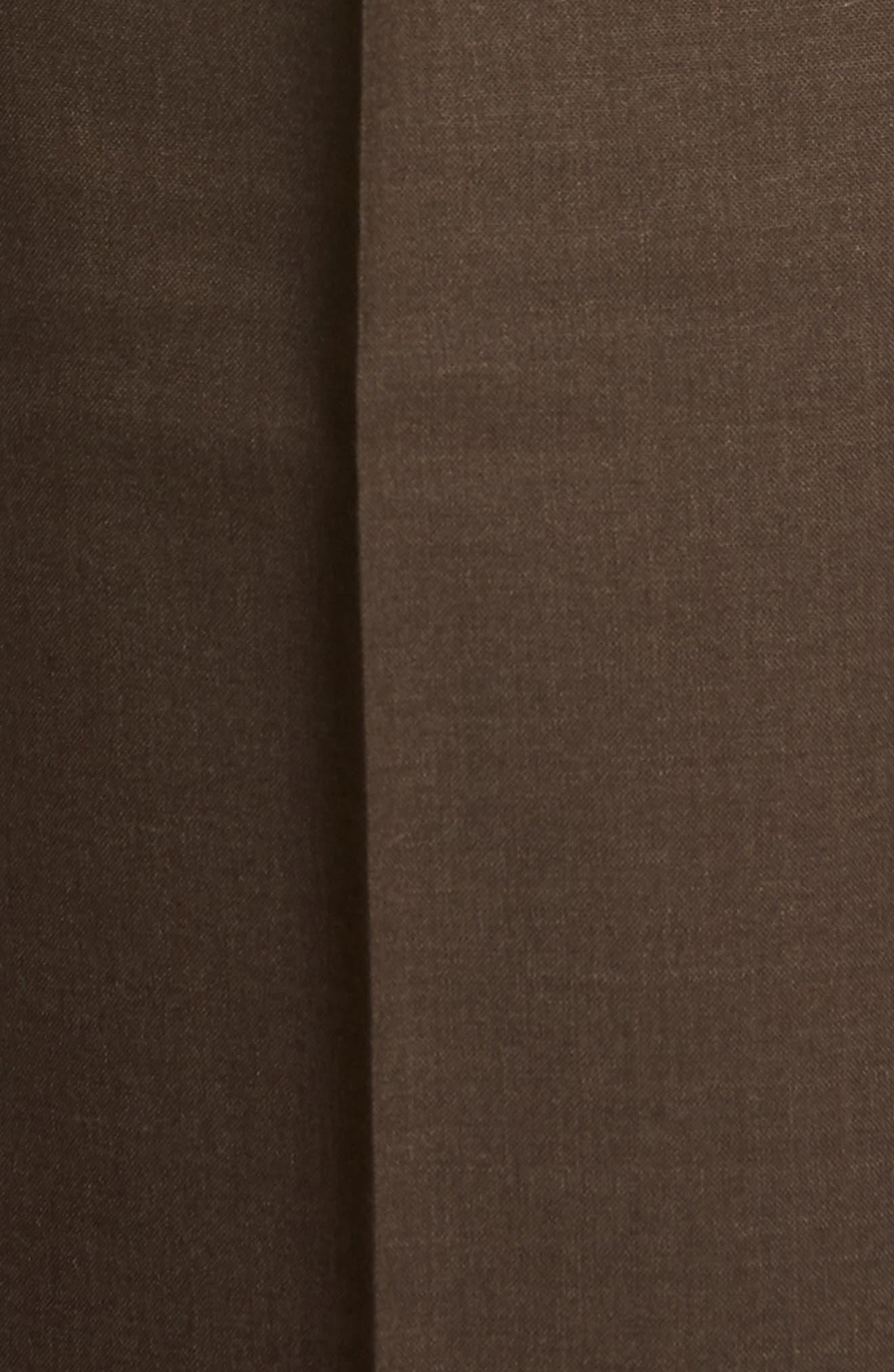 Self Sizer Waist Pleated Wool Gabardine Trousers,                             Alternate thumbnail 5, color,                             BROWN