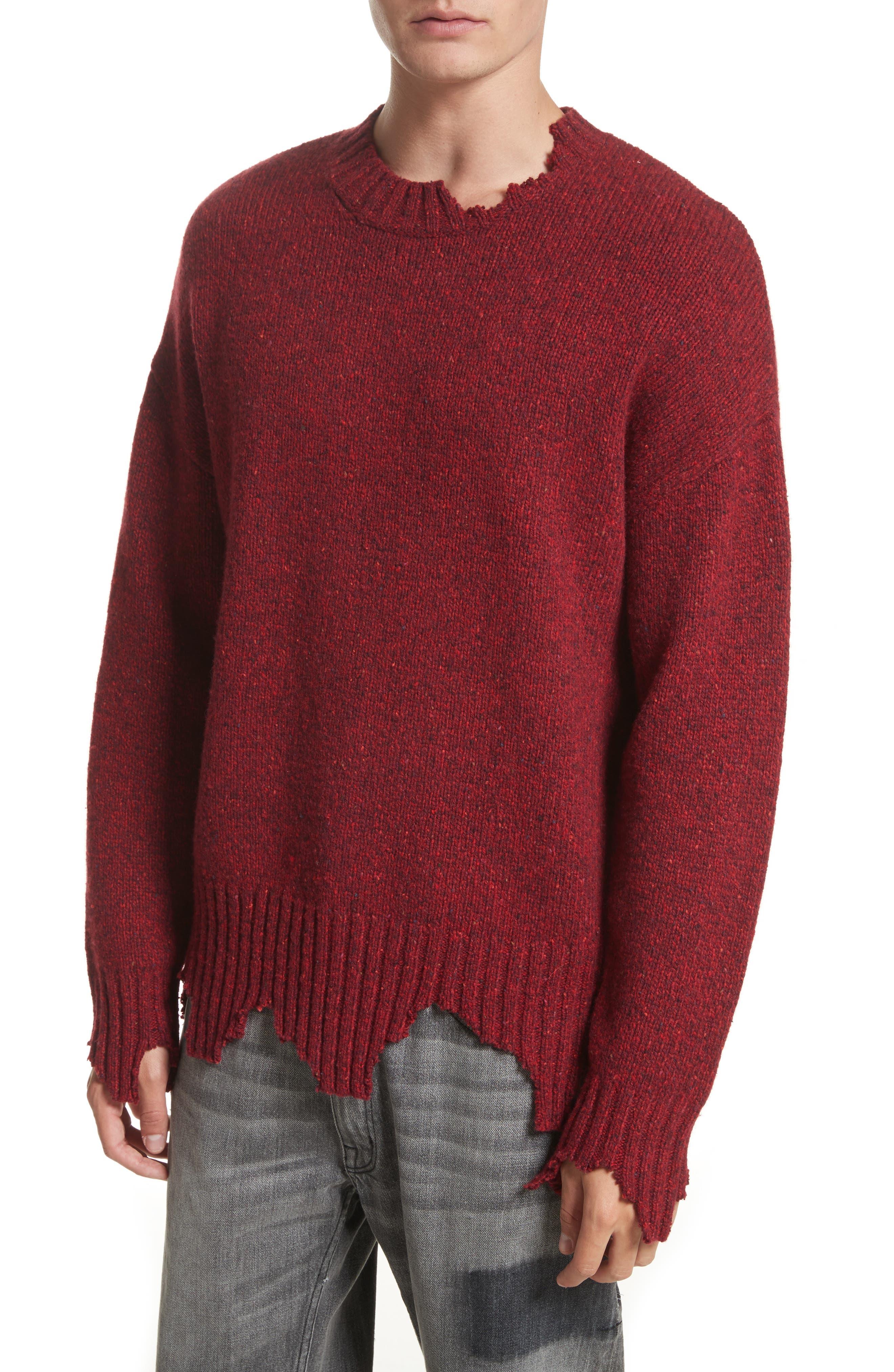 Destroyed Crewneck Sweater,                             Alternate thumbnail 4, color,                             600