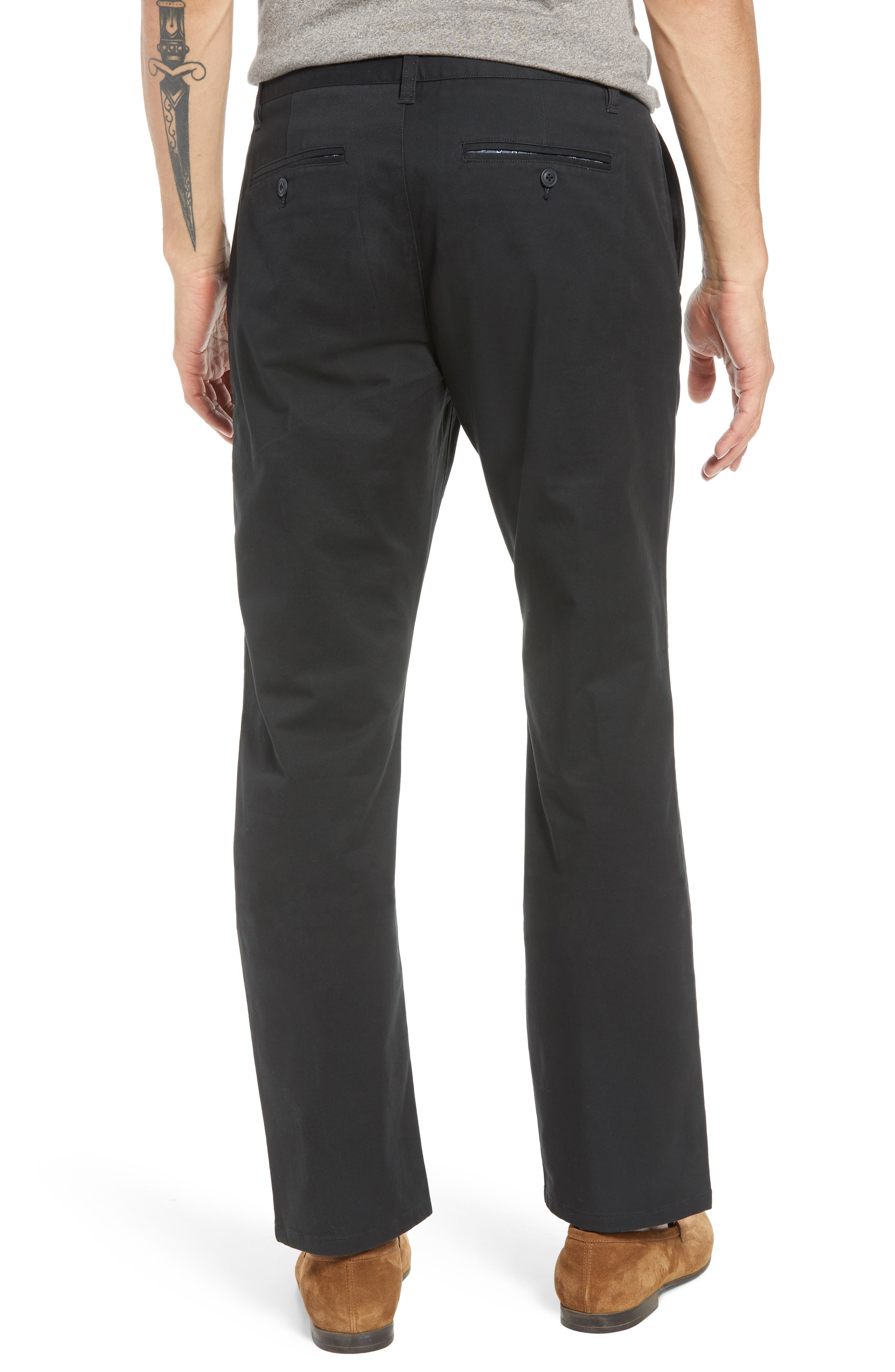 Straight Leg Stretch Washed Chinos,                             Alternate thumbnail 2, color,                             JET BLACK