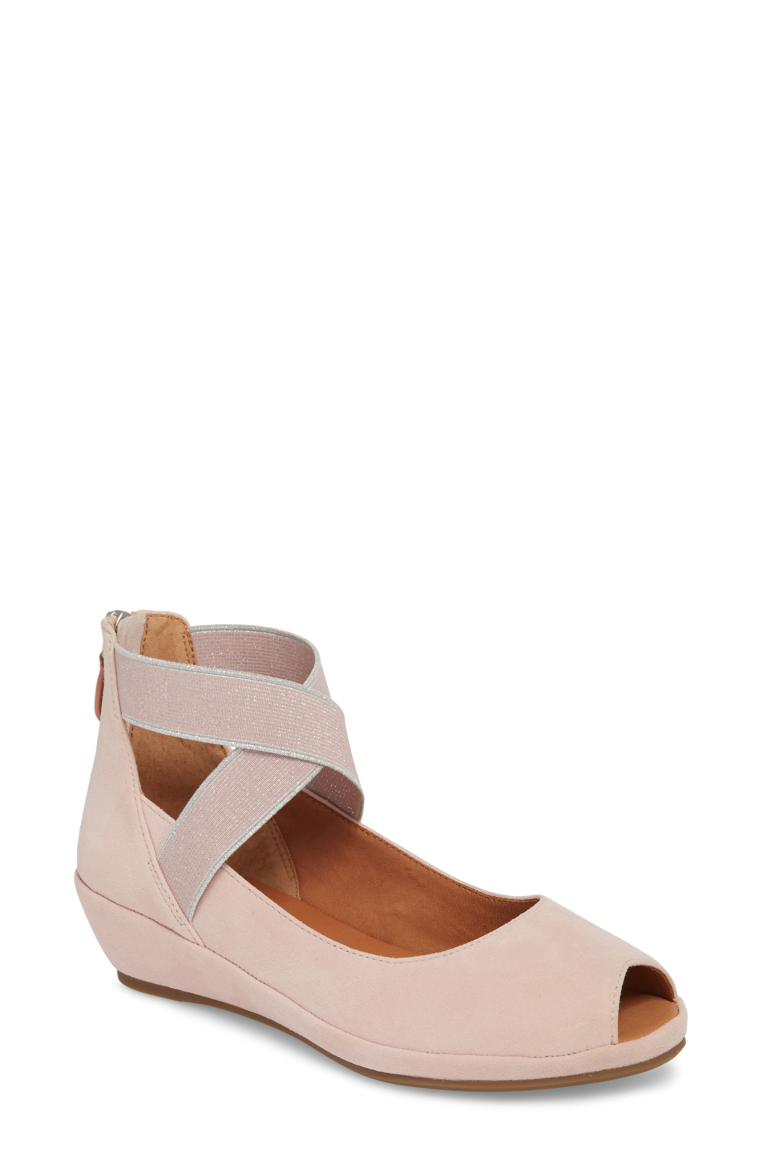 by Kenneth Cole Lisa Wedge Sandal,                             Main thumbnail 1, color,                             PEONY SUEDE