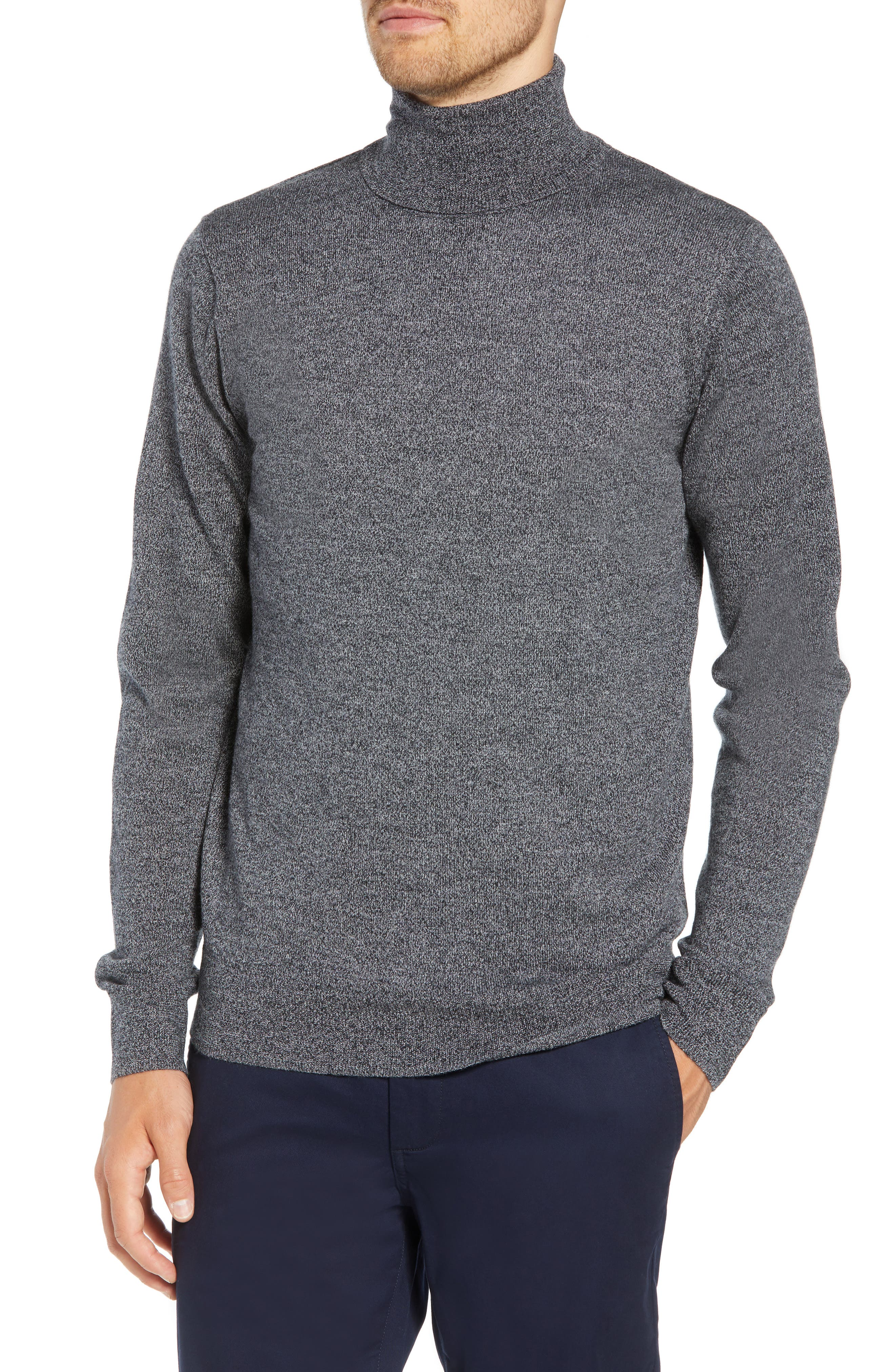 Slim Fit Turtleneck Merino Wool Sweater,                         Main,                         color, CHARCOAL MARL