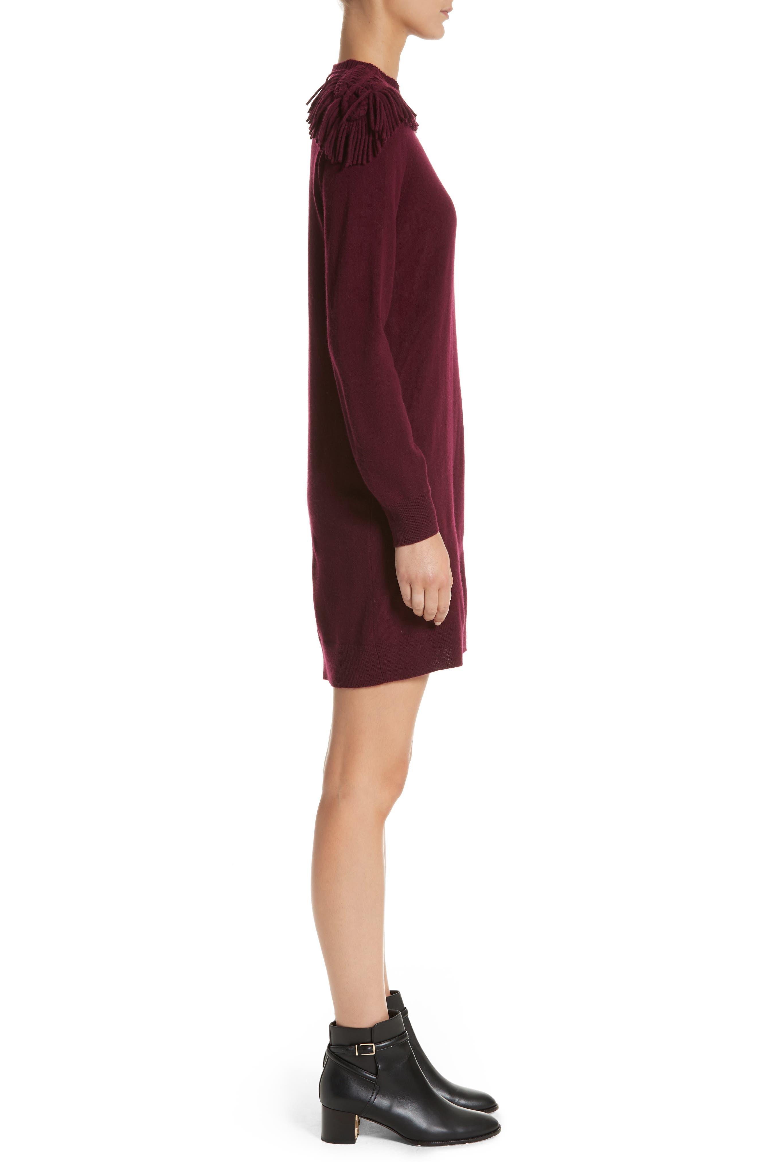 Neto Wool & Cashmere Fringe Sweater Dress,                             Alternate thumbnail 3, color,                             601