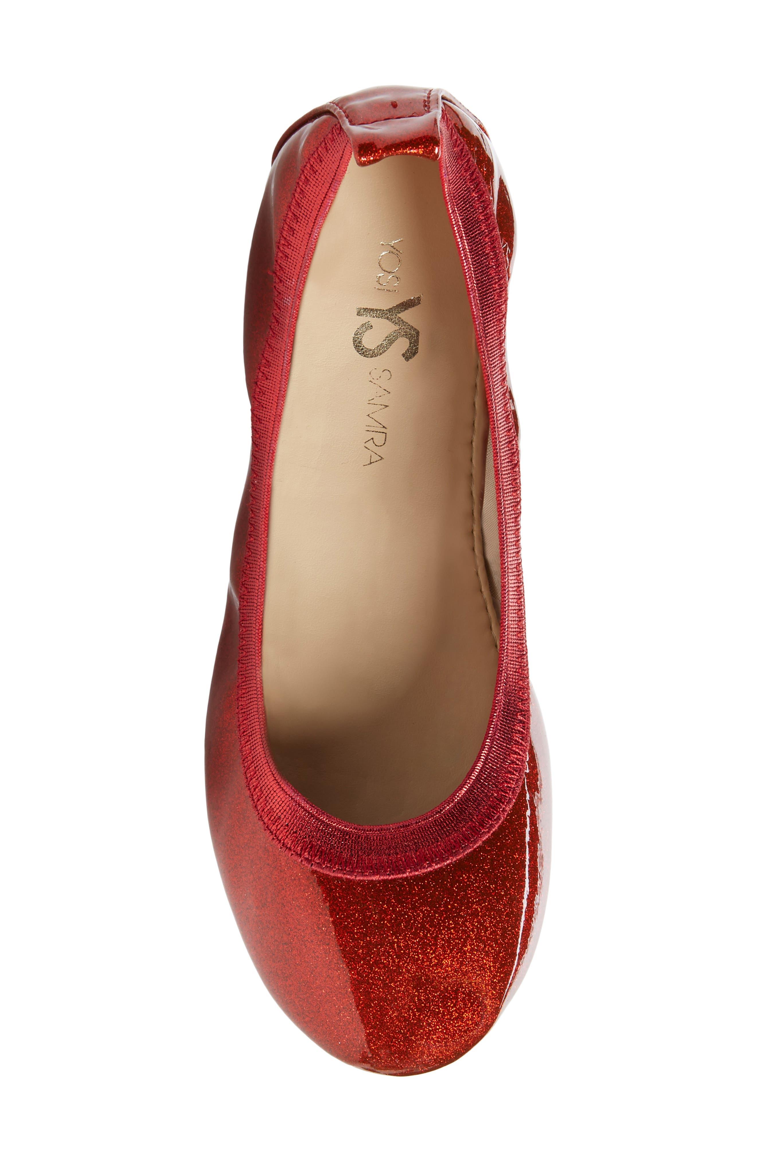 Miss Samara Ballet Flat,                             Alternate thumbnail 5, color,                             RED PATENT GLITTER