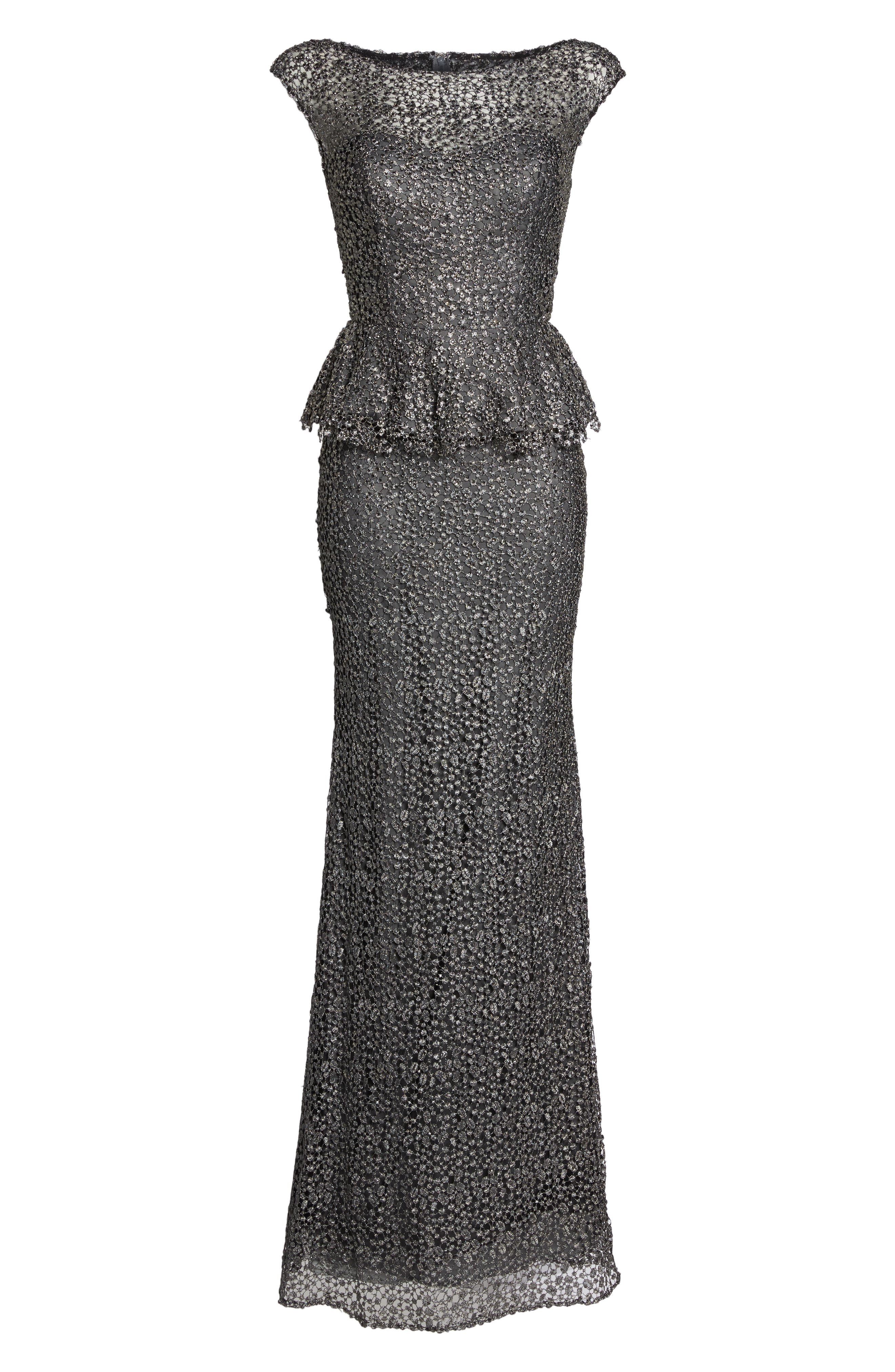 Embellished Lace Peplum Gown,                             Alternate thumbnail 6, color,                             GUNMETAL