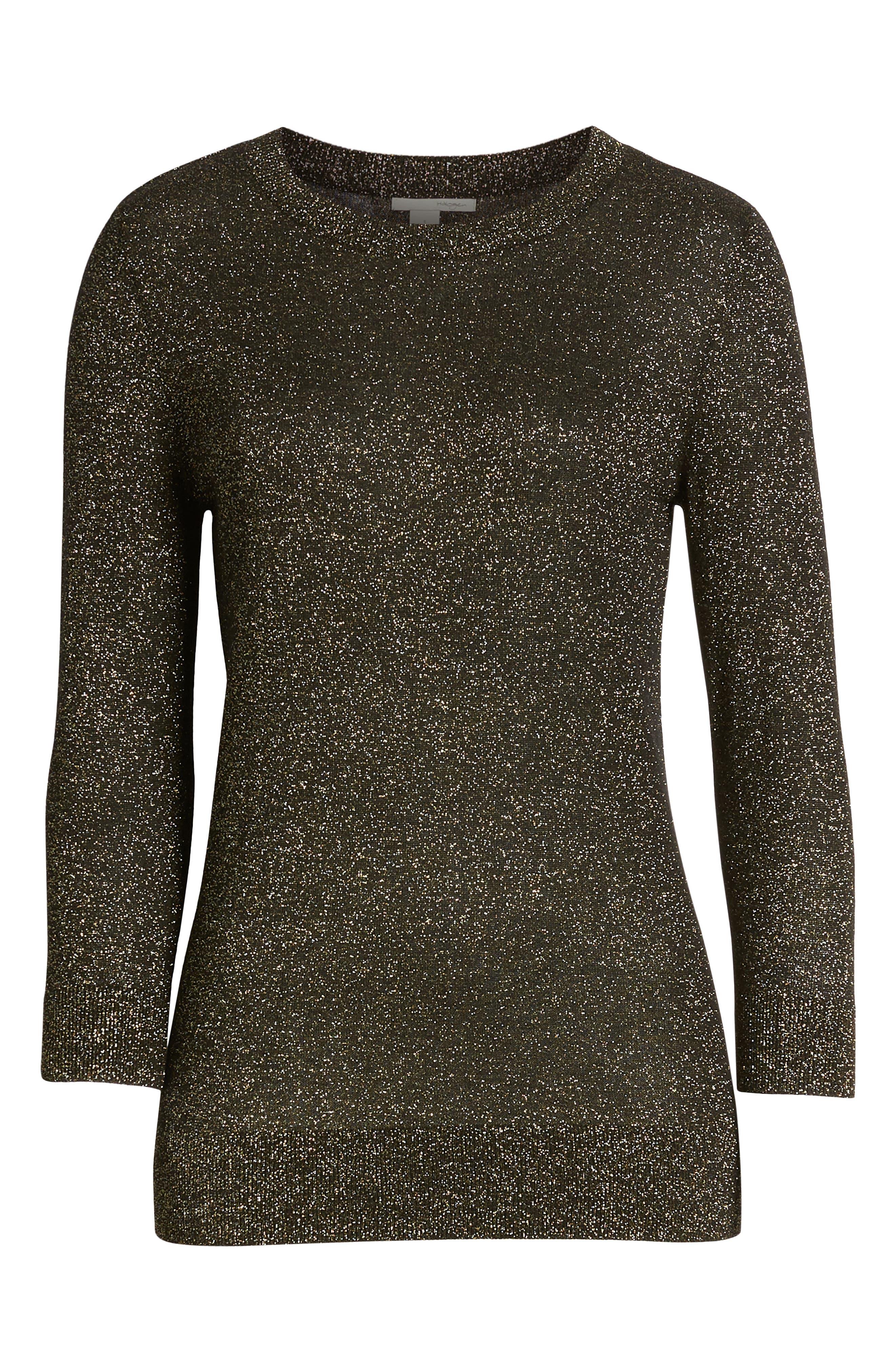 Shimmer Sweater,                             Alternate thumbnail 6, color,                             BLACK