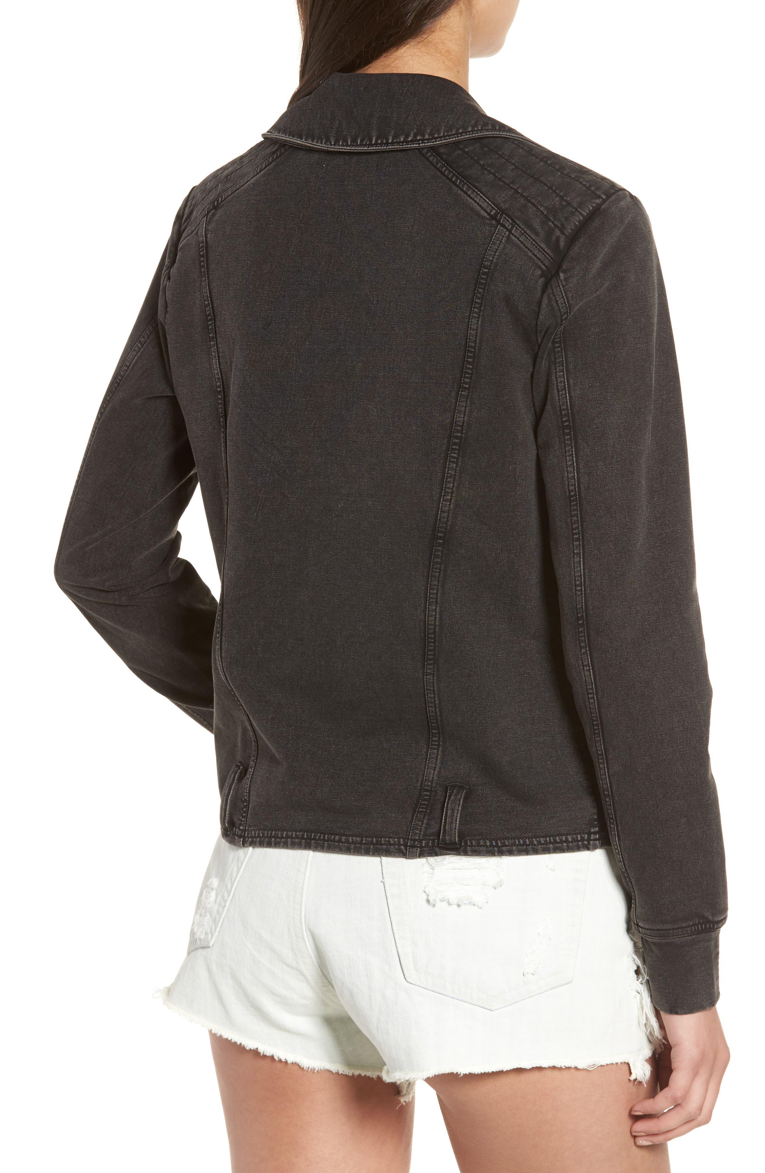 Knit Moto Jacket,                             Alternate thumbnail 2, color,                             001