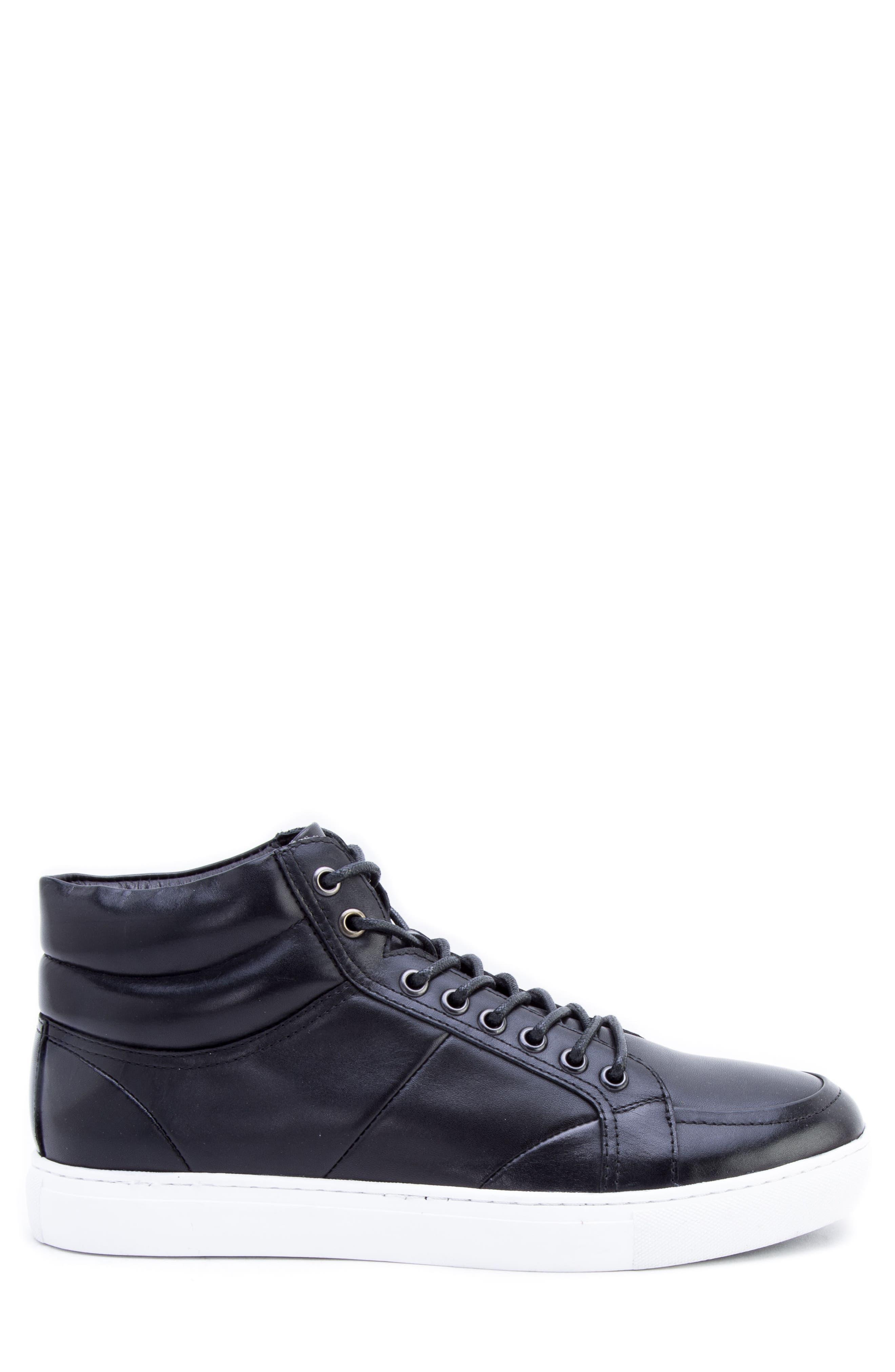 Tassel Mid Top Sneaker,                             Alternate thumbnail 3, color,                             BLACK LEATHER