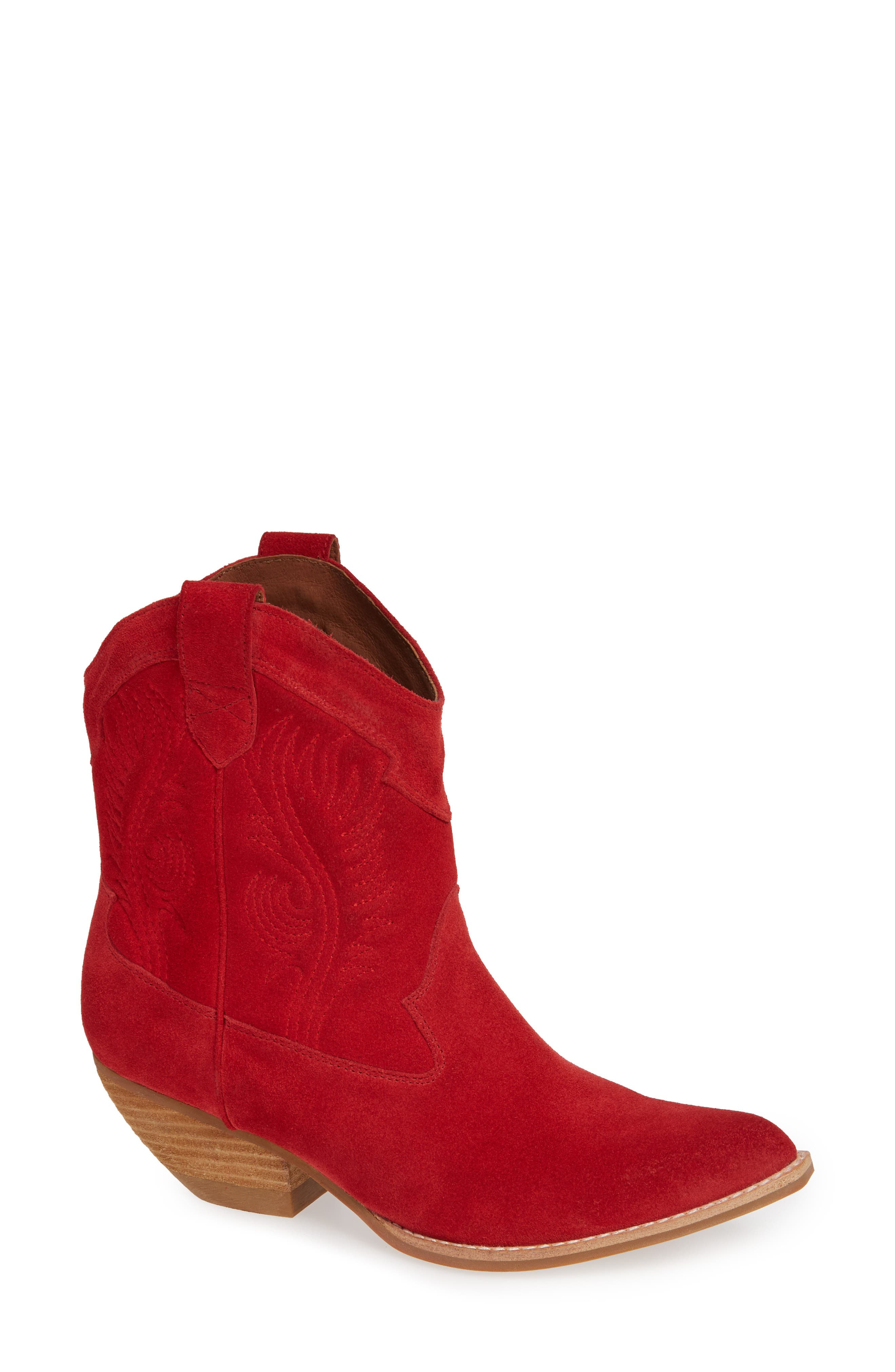 Calvera Western Boot,                             Main thumbnail 1, color,                             RED SUEDE