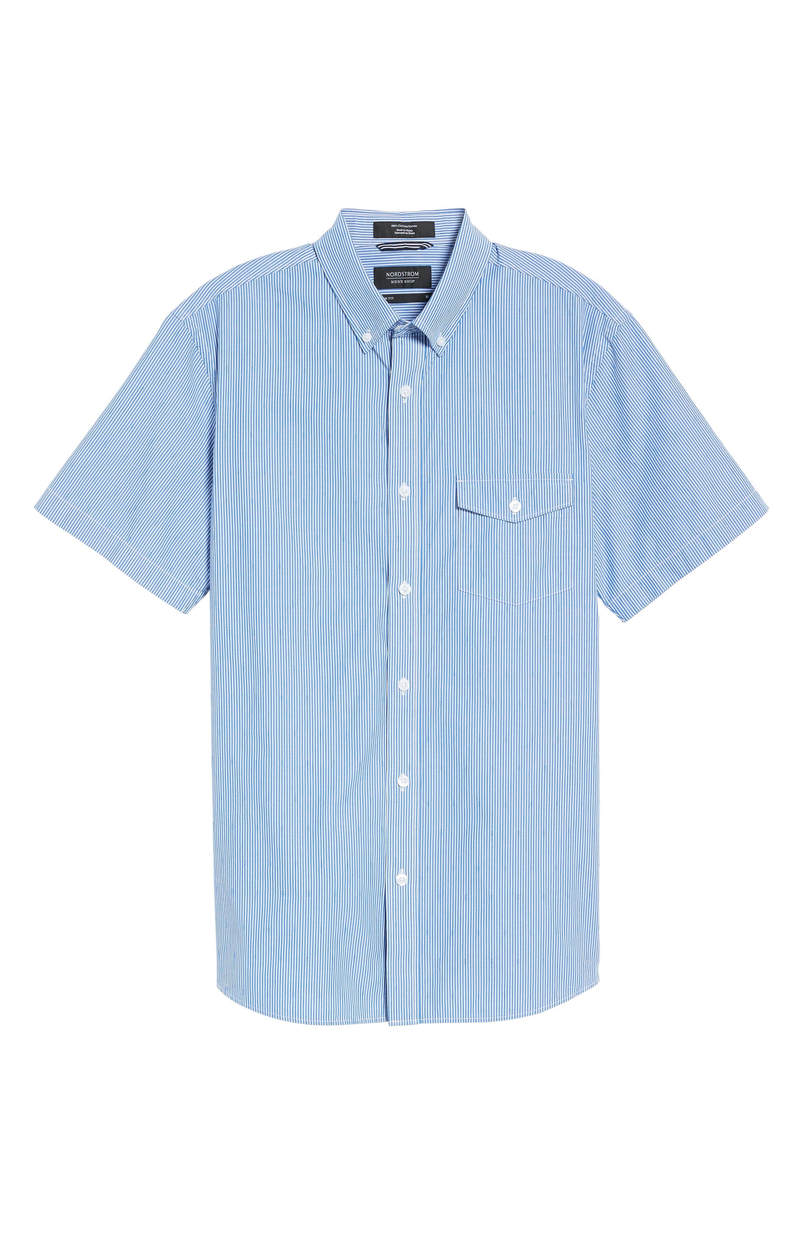 Slim Fit Stripe Sport Shirt,                             Alternate thumbnail 6, color,                             420