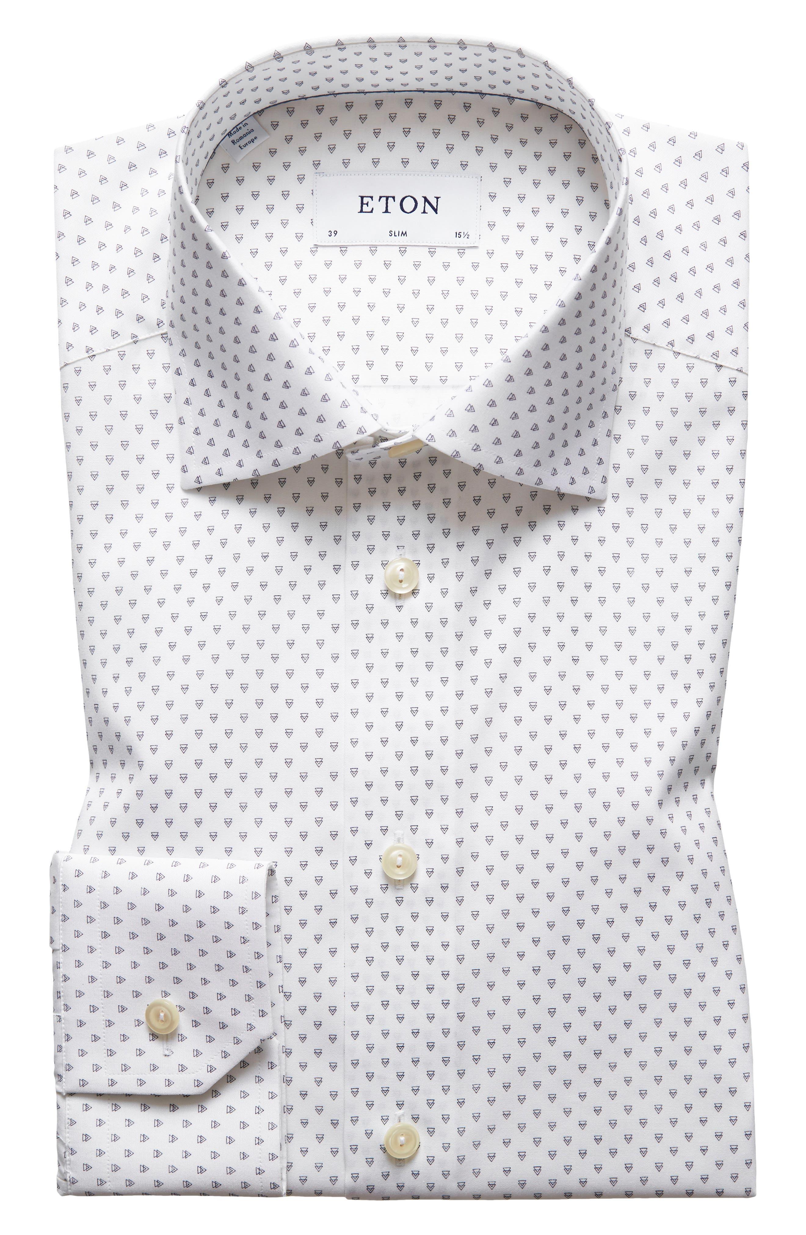 Slim Fit Geometric Dress Shirt,                         Main,                         color, 100