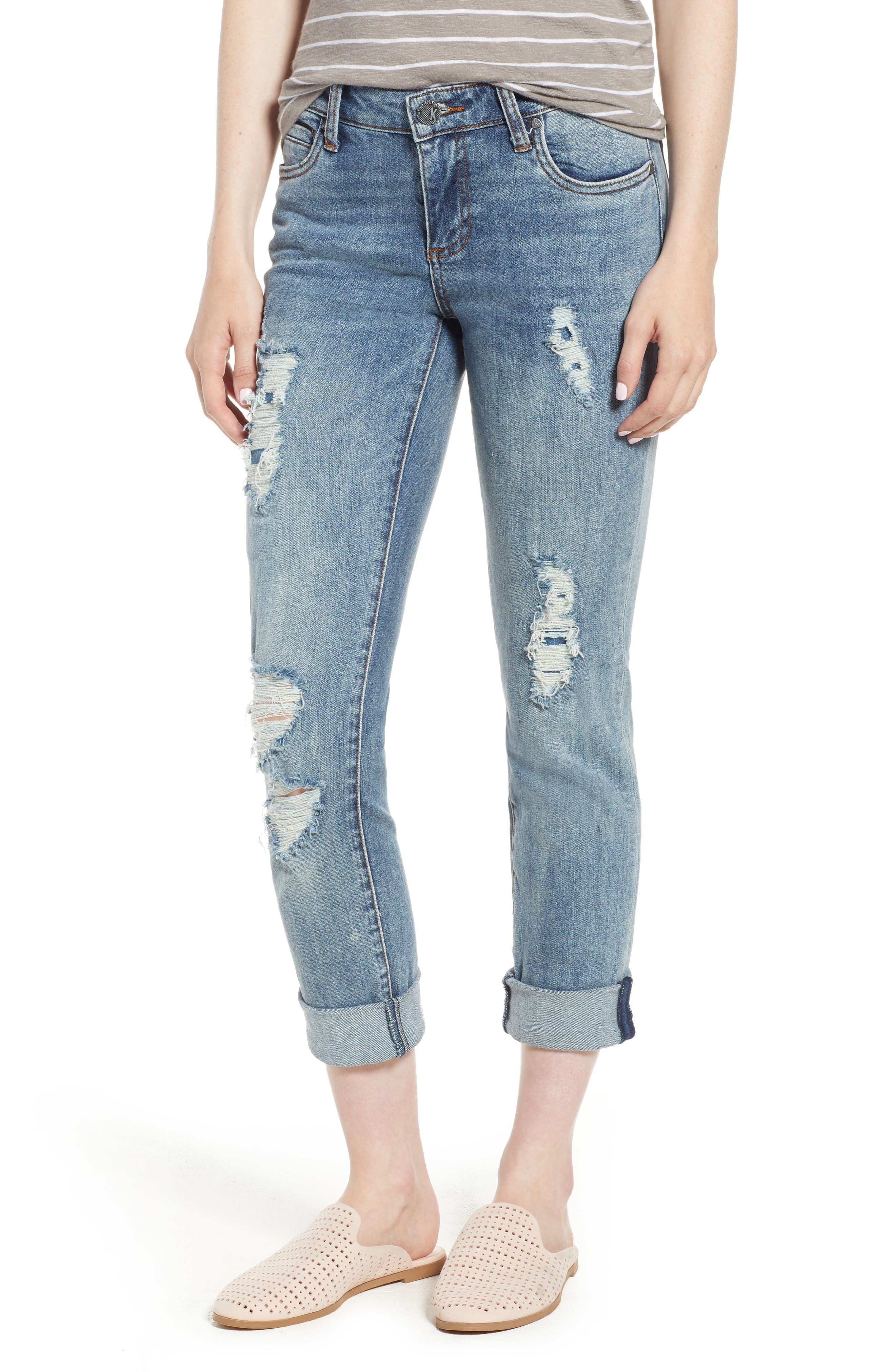 KUT from the Kloth Catherine Ripped Boyfriend Jeans,                             Main thumbnail 1, color,