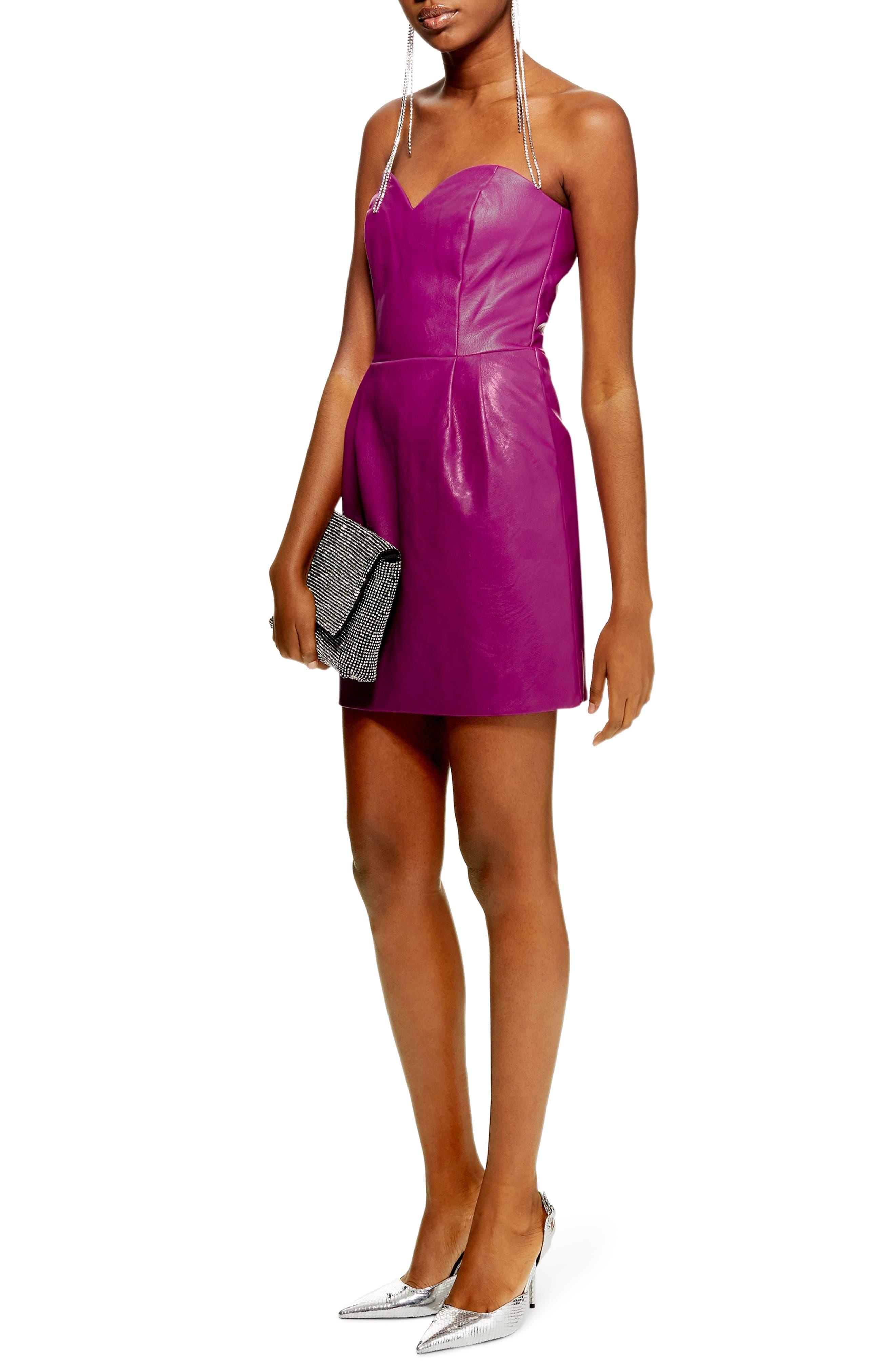 Faux Leather Bandeau Minidress, Main, color, PURPLE